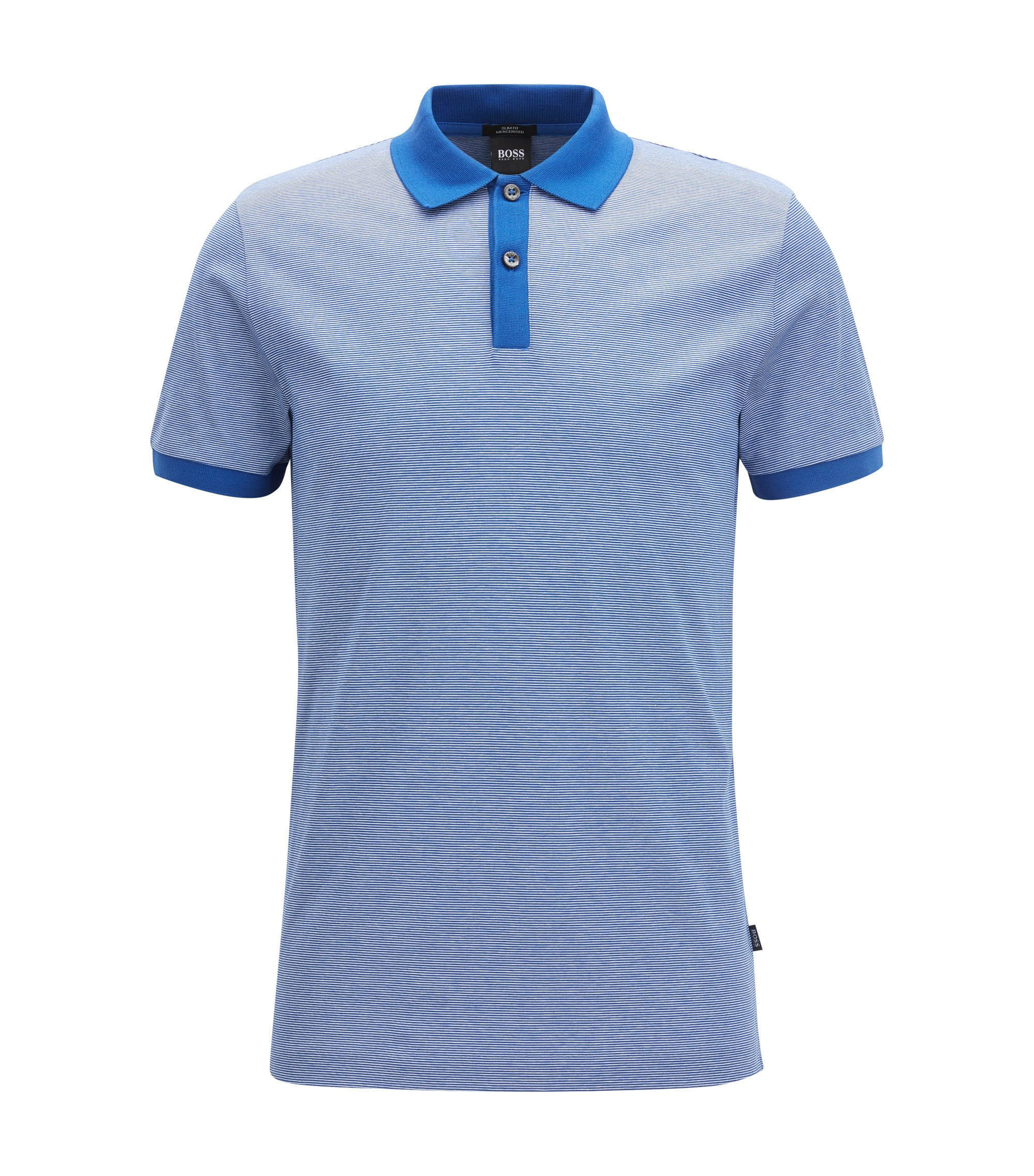 Finely striped slim-fit polo shirt in mercerised cotton, Blue