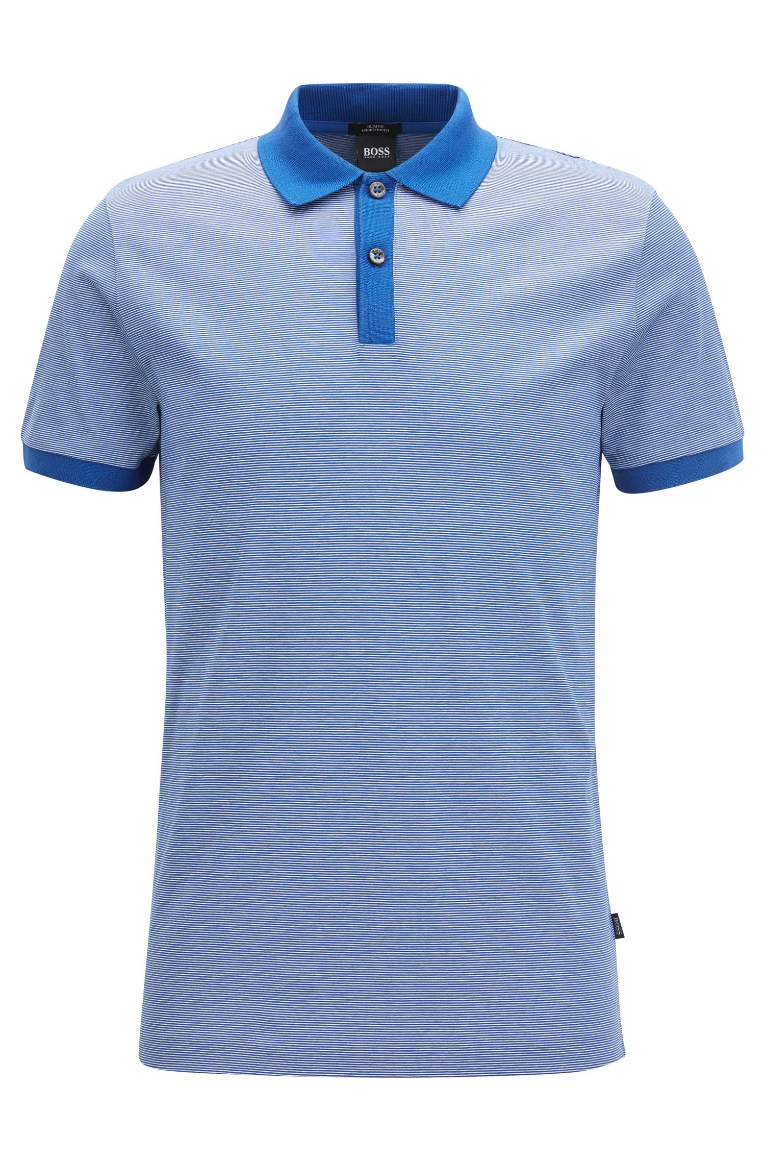Finely striped slim-fit polo shirt in mercerised cotton