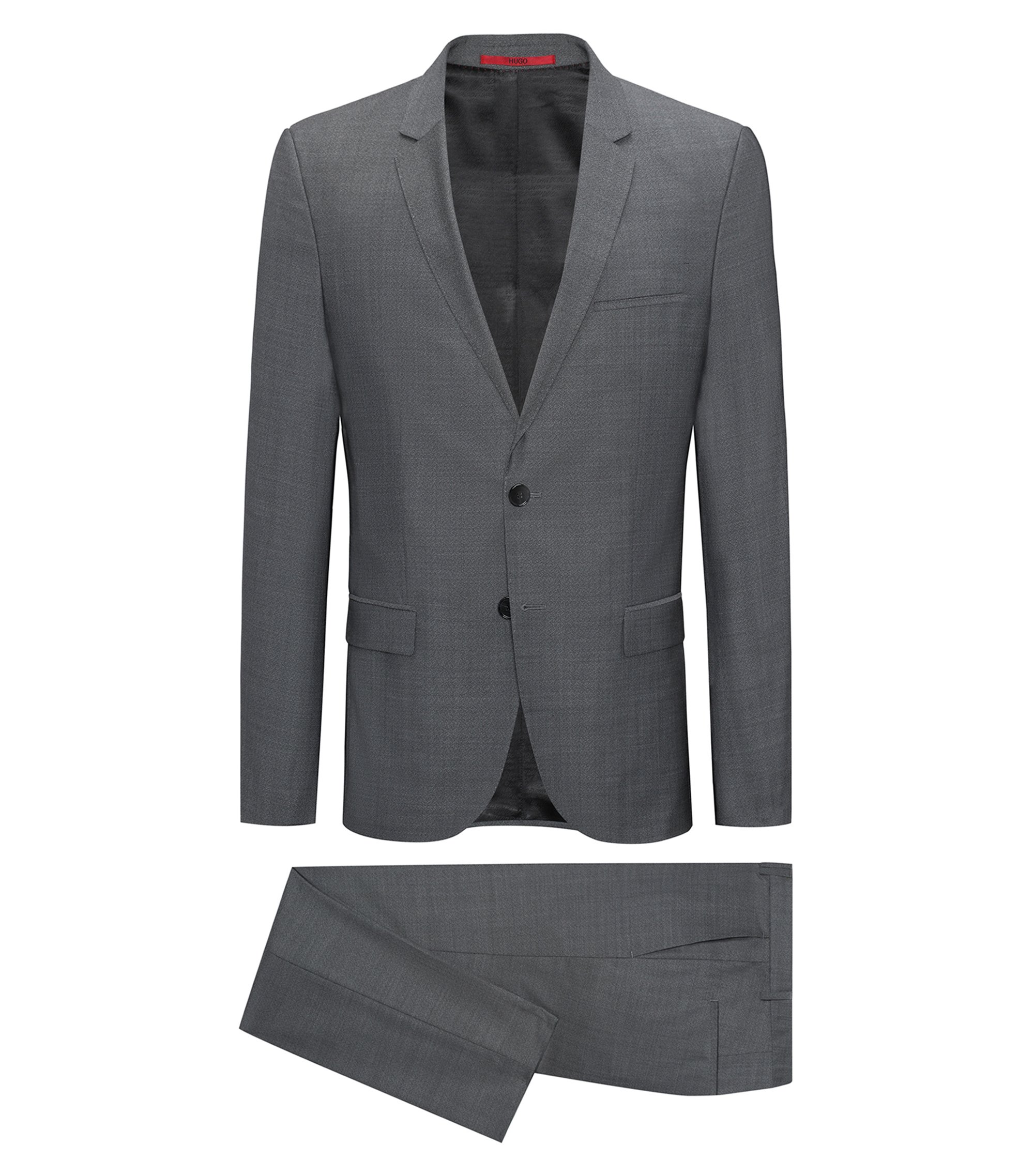 Extra-slim-fit suit in patterned virgin wool, Anthracite