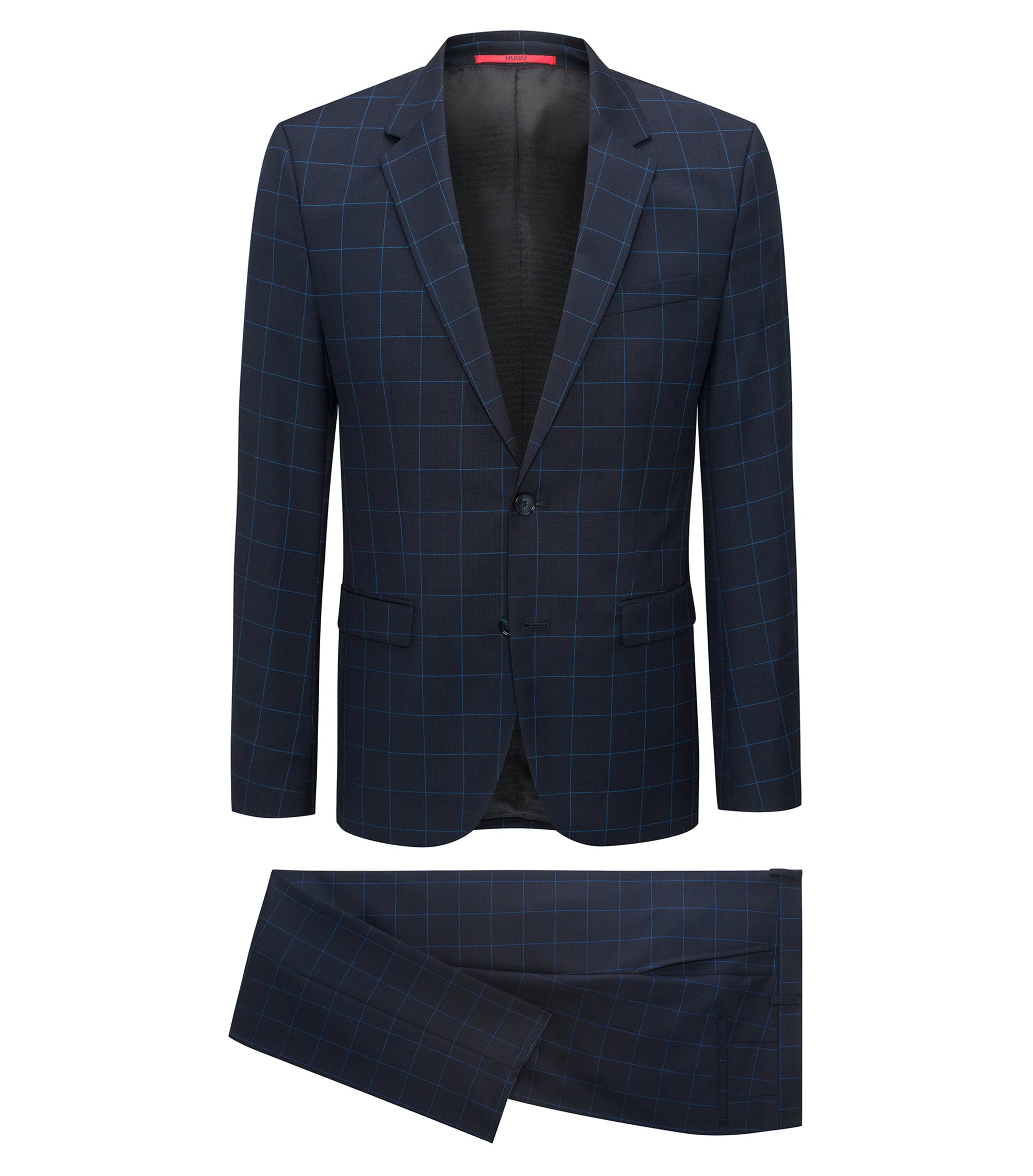 Extra-slim-fit windowpane-check suit in virgin wool, Blue