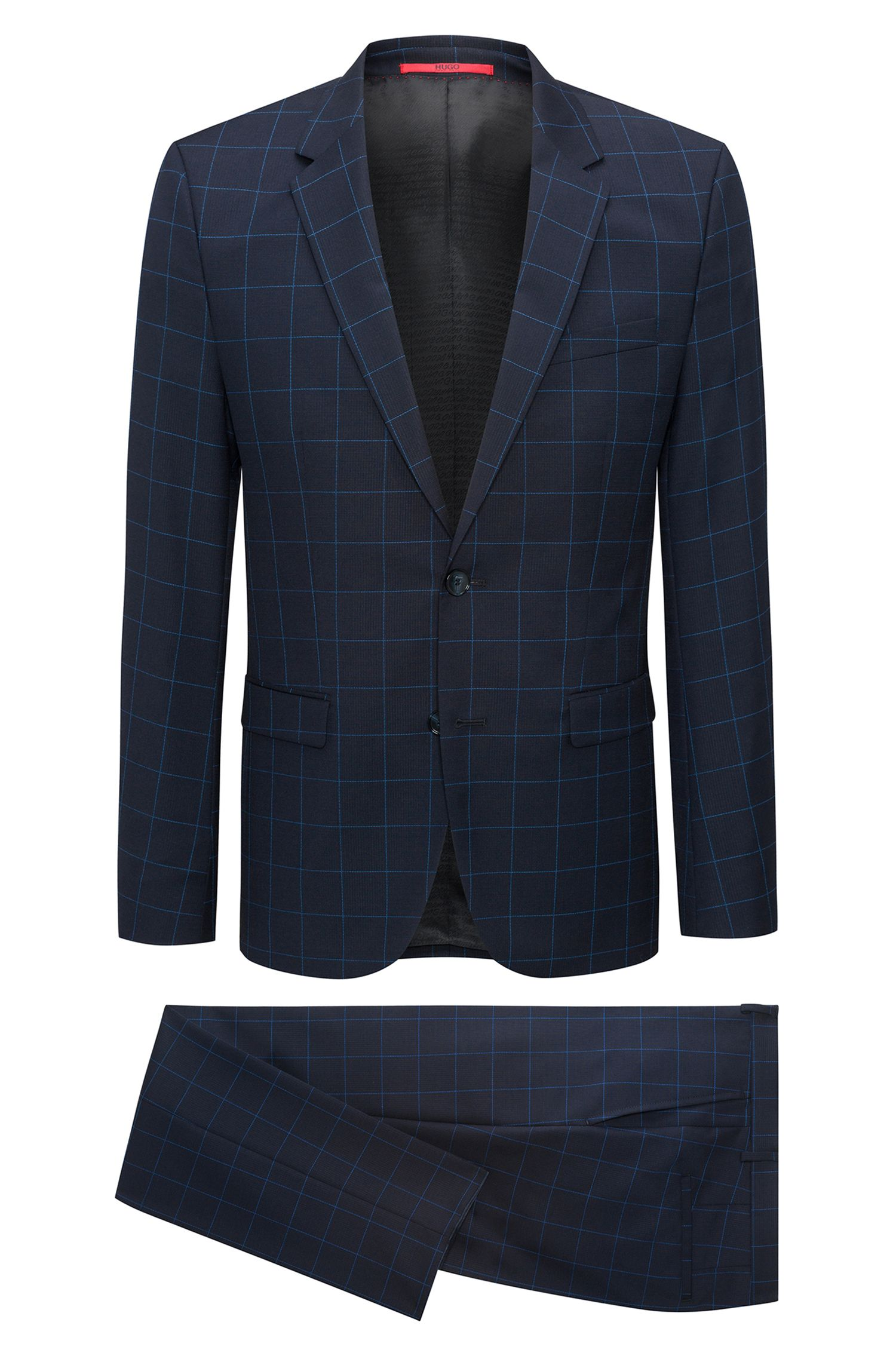 Extra-slim-fit windowpane-check suit in virgin wool