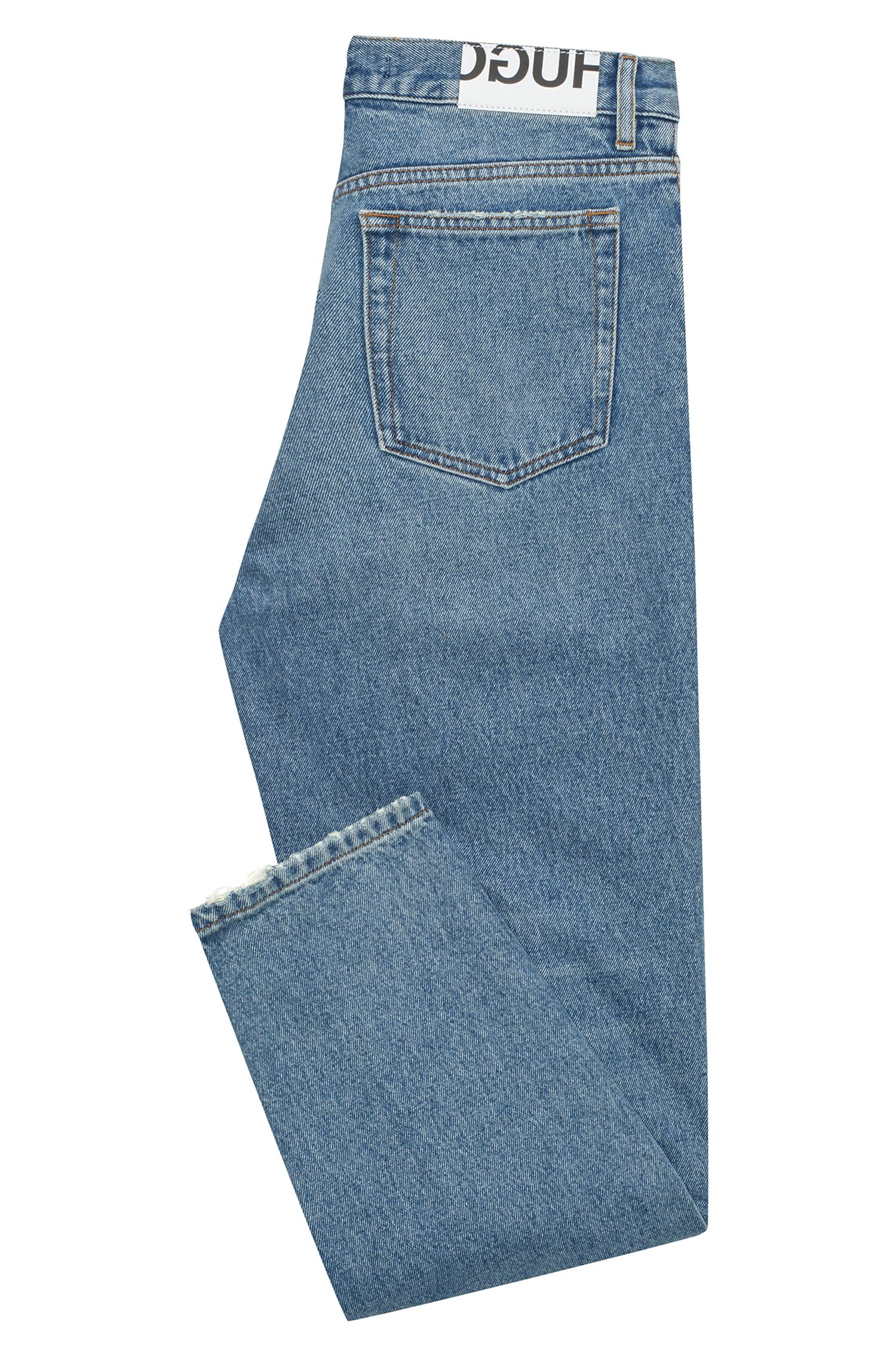 Mid-blue denim jeans in a slim fit