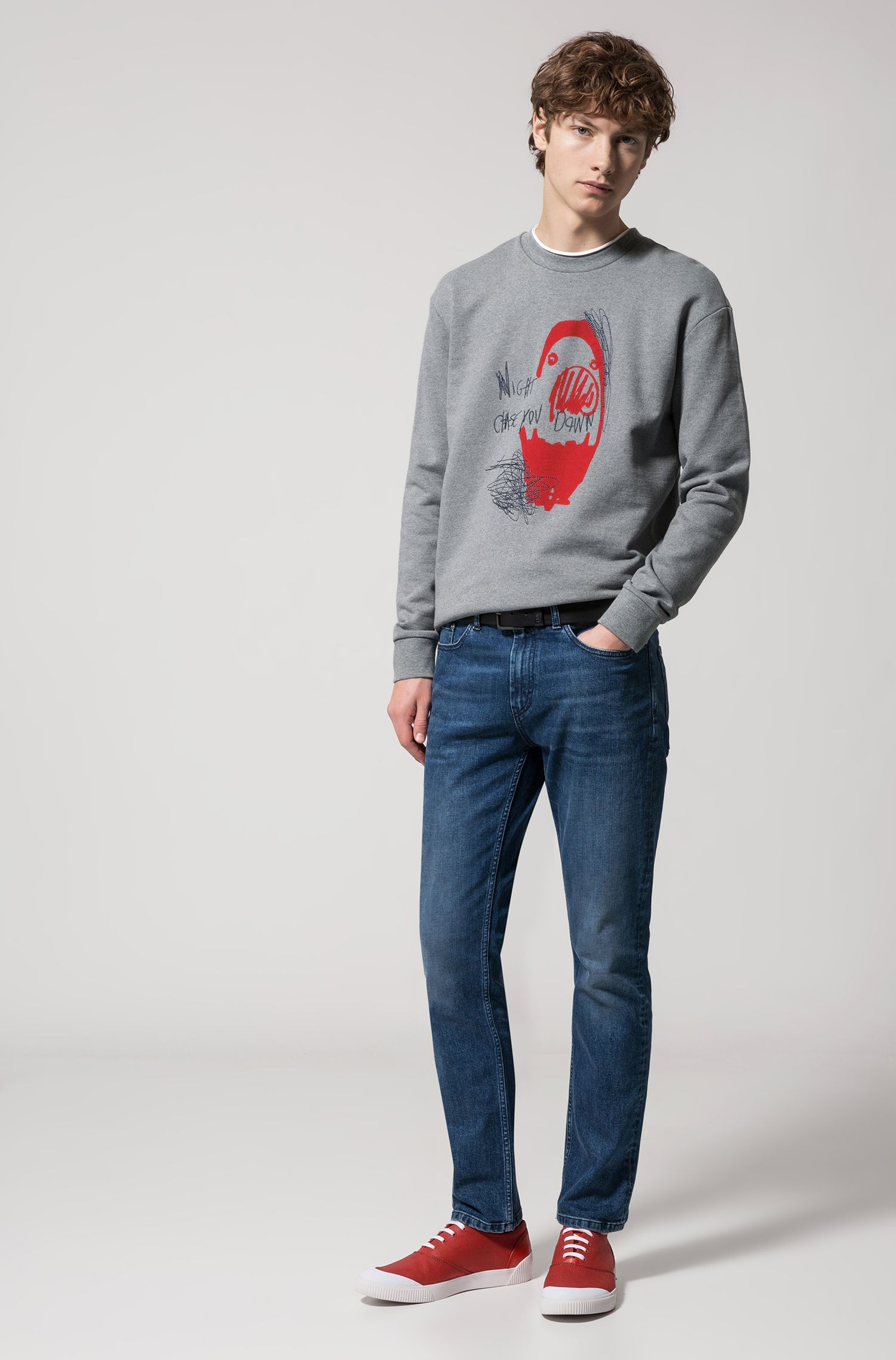 Jeans regular fit in denim elasticizzato blu scuro