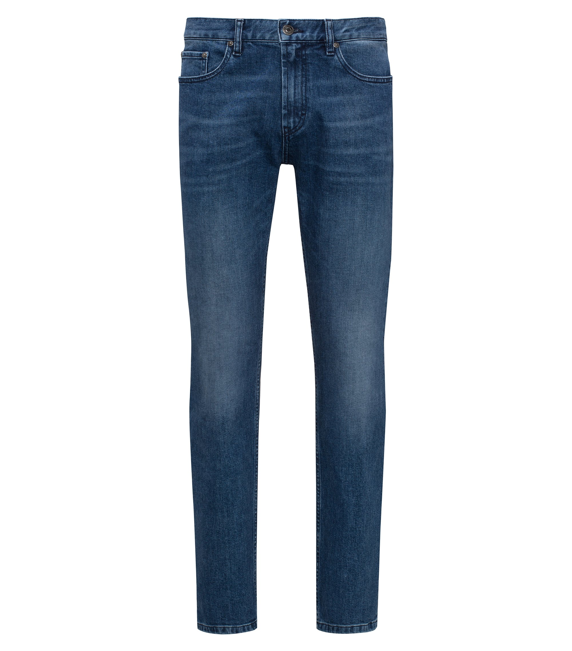 Jeans regular fit in denim elasticizzato blu scuro, Turchese