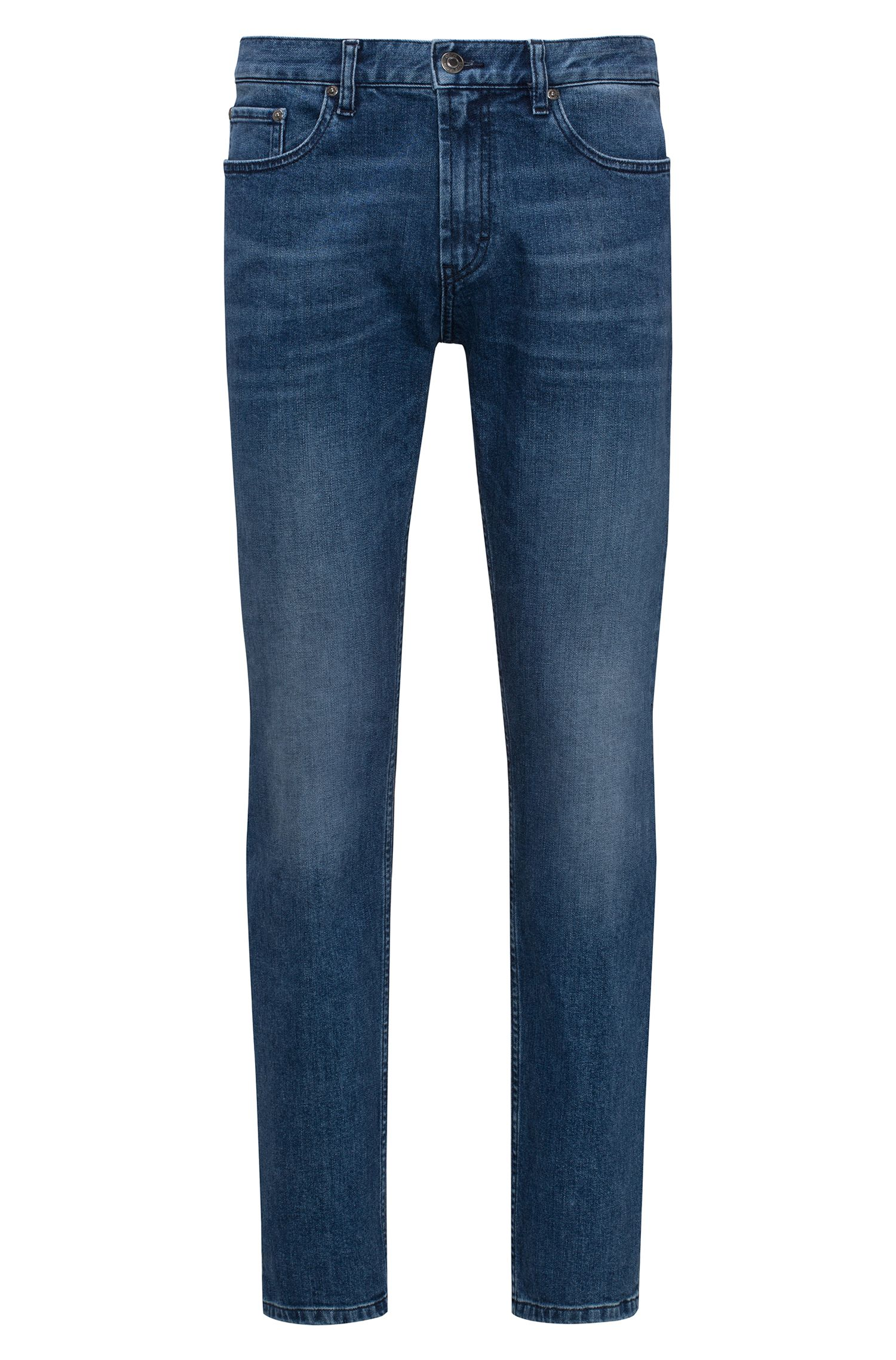 Regular-fit jeans van donkerblauw stretchdenim