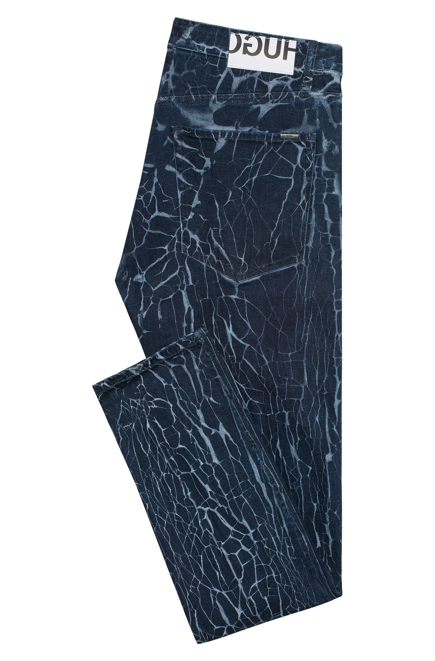 Stretch-denim skinny-fit jeans with cracked effect