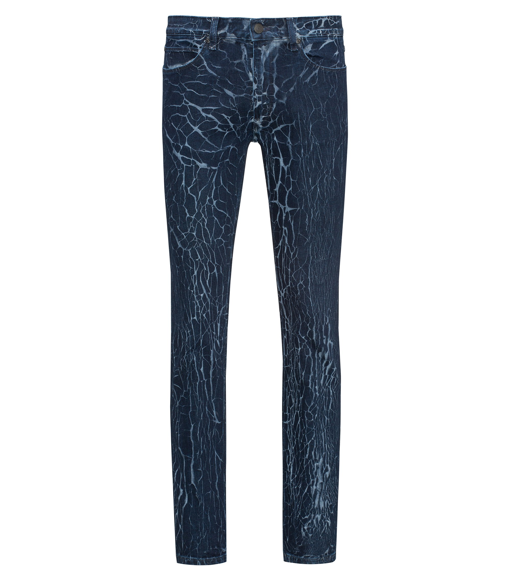 Jeans skinny fit in denim elasticizzato con particolari venature, Blu