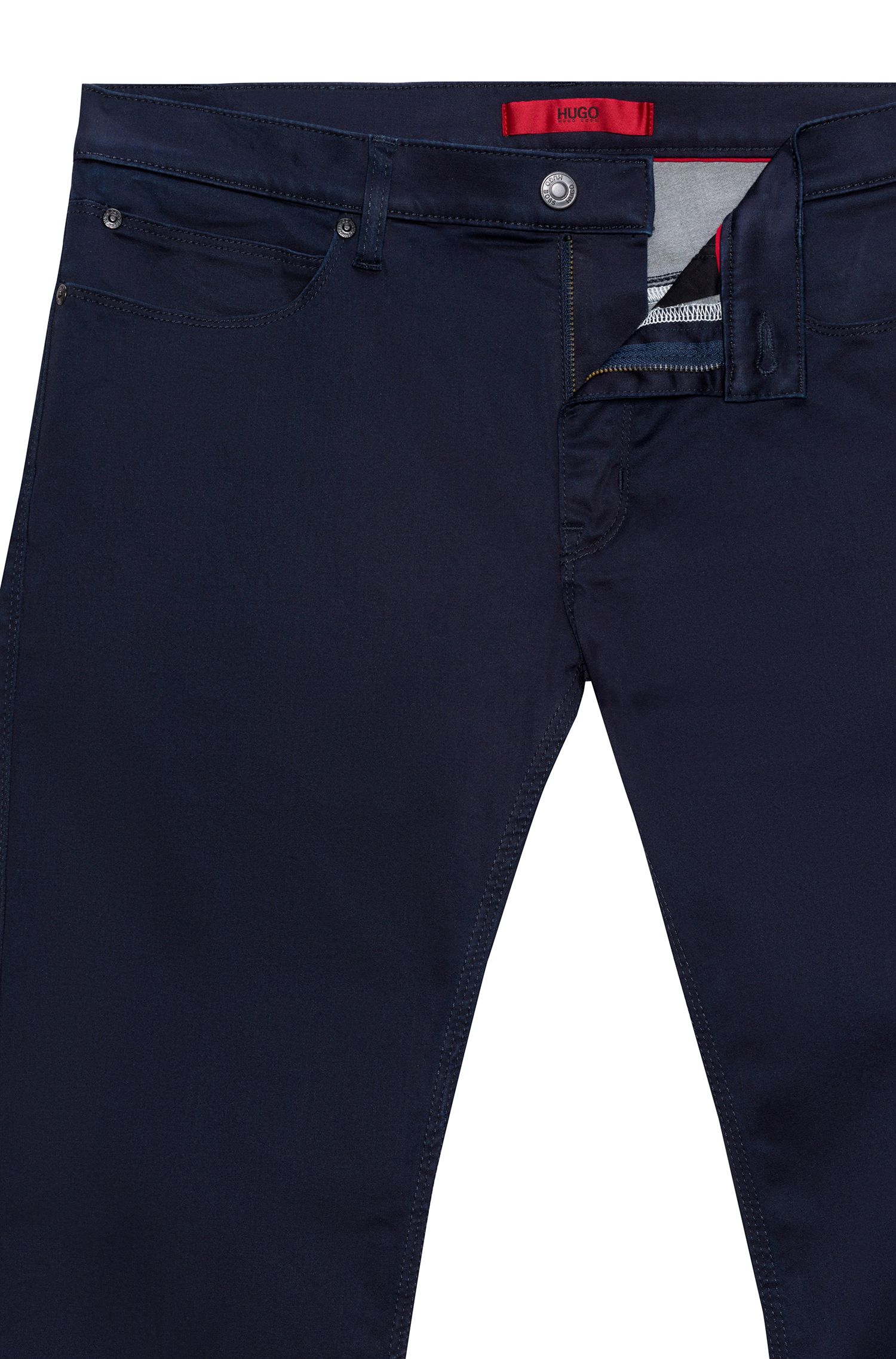 Slim-fit jeans van donkerblauw stretchdenim