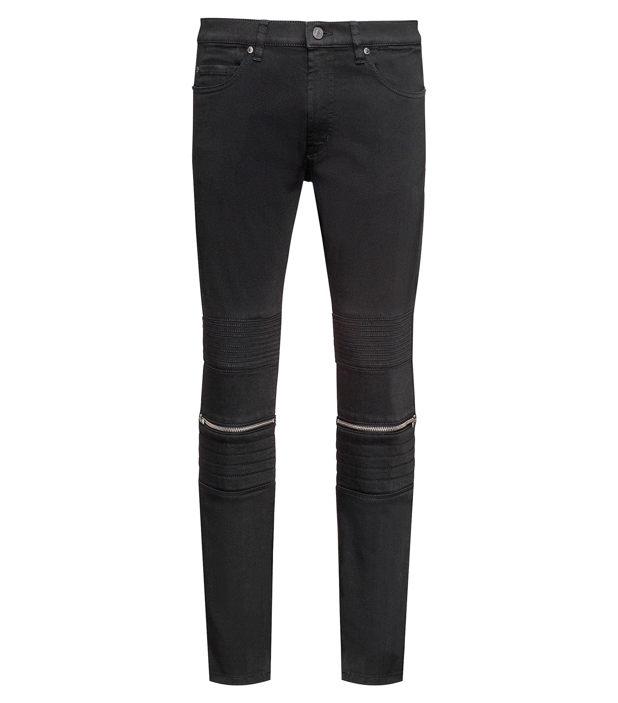 Skinny-fit jeans van zwart stretchdenim met bikeraccenten, Zwart