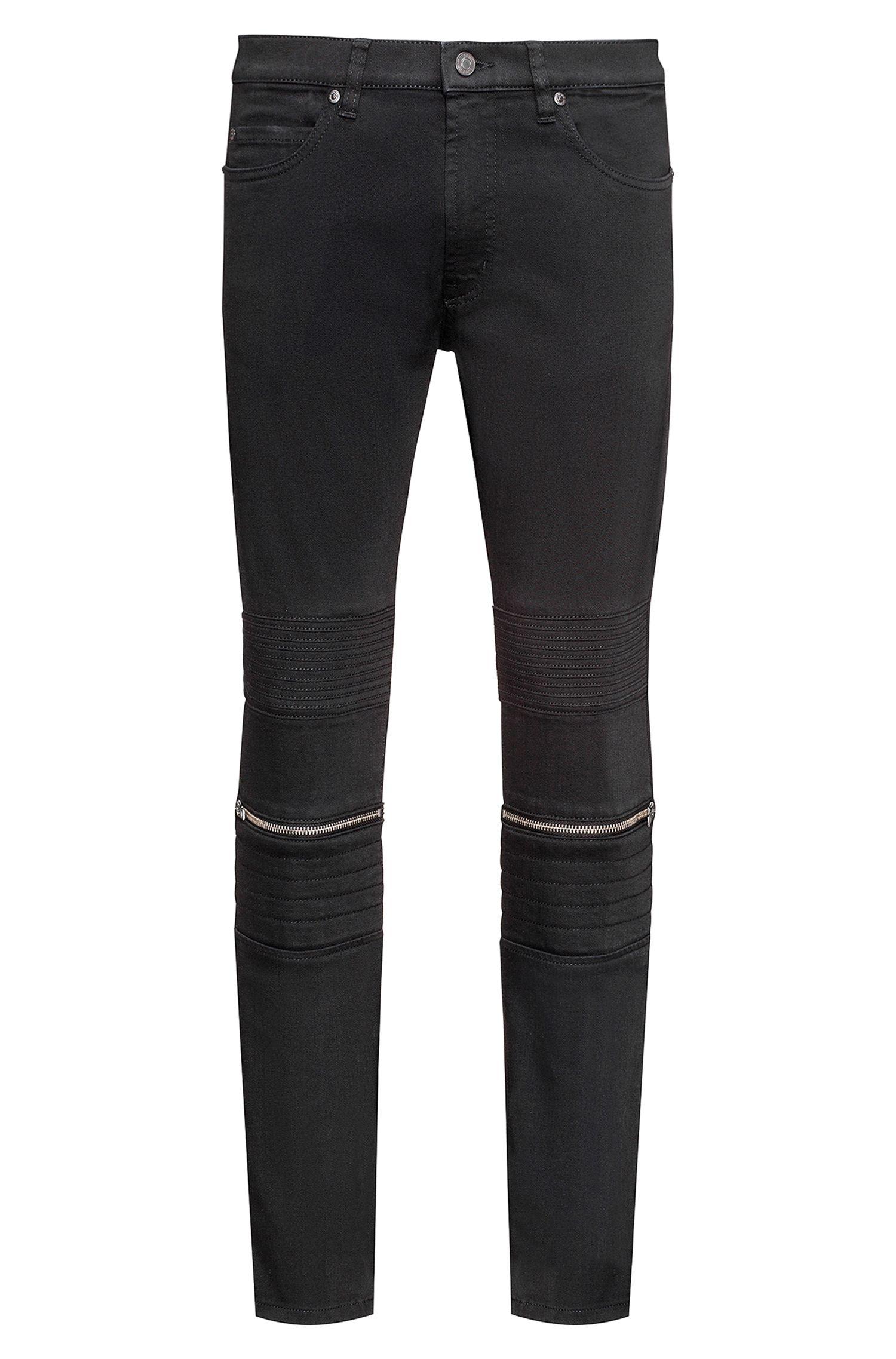Vaqueros skinny fit negros en denim elástico con detalles de estilo biker