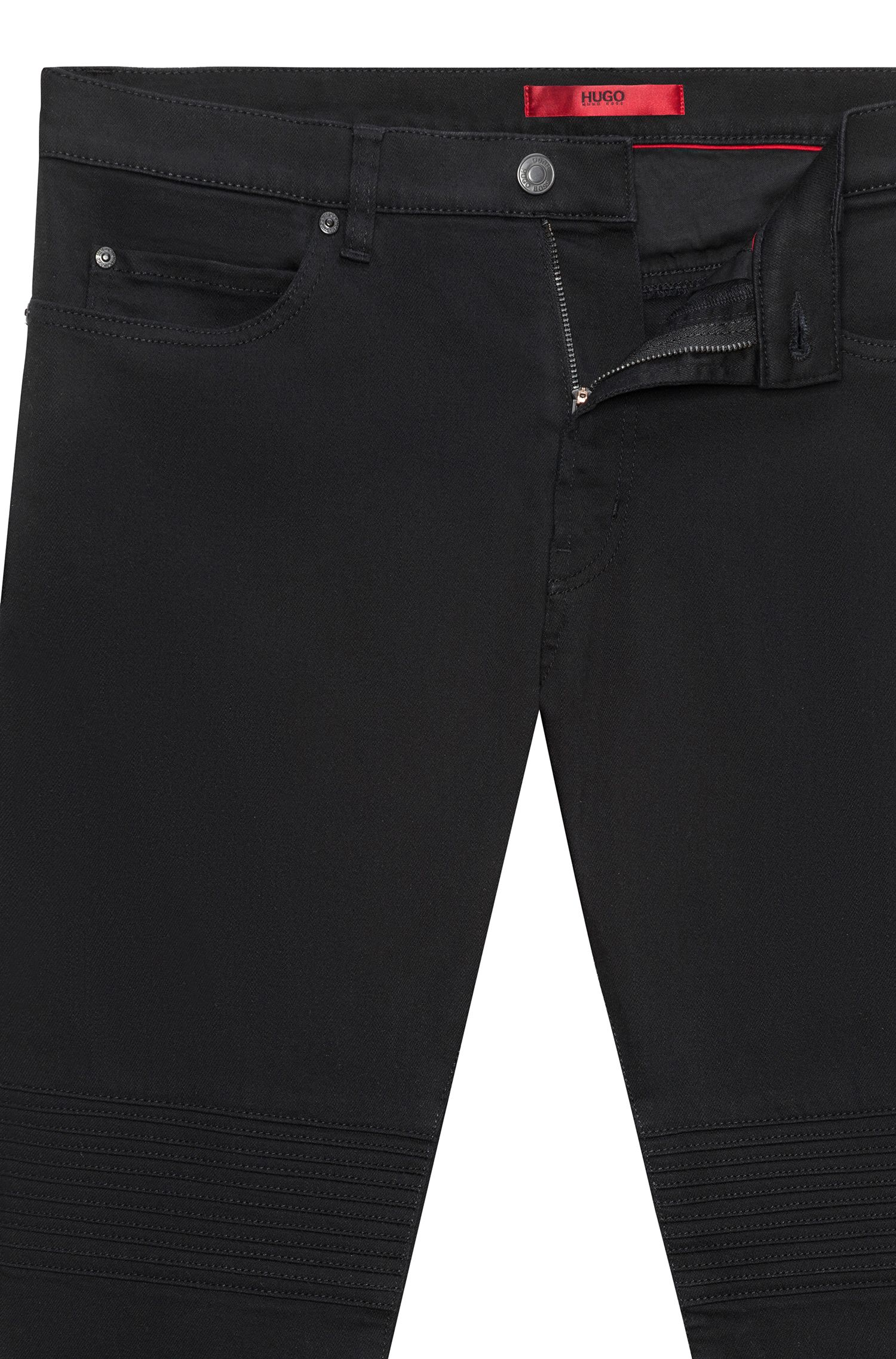 Skinny-fit black stretch-denim jeans with biker details