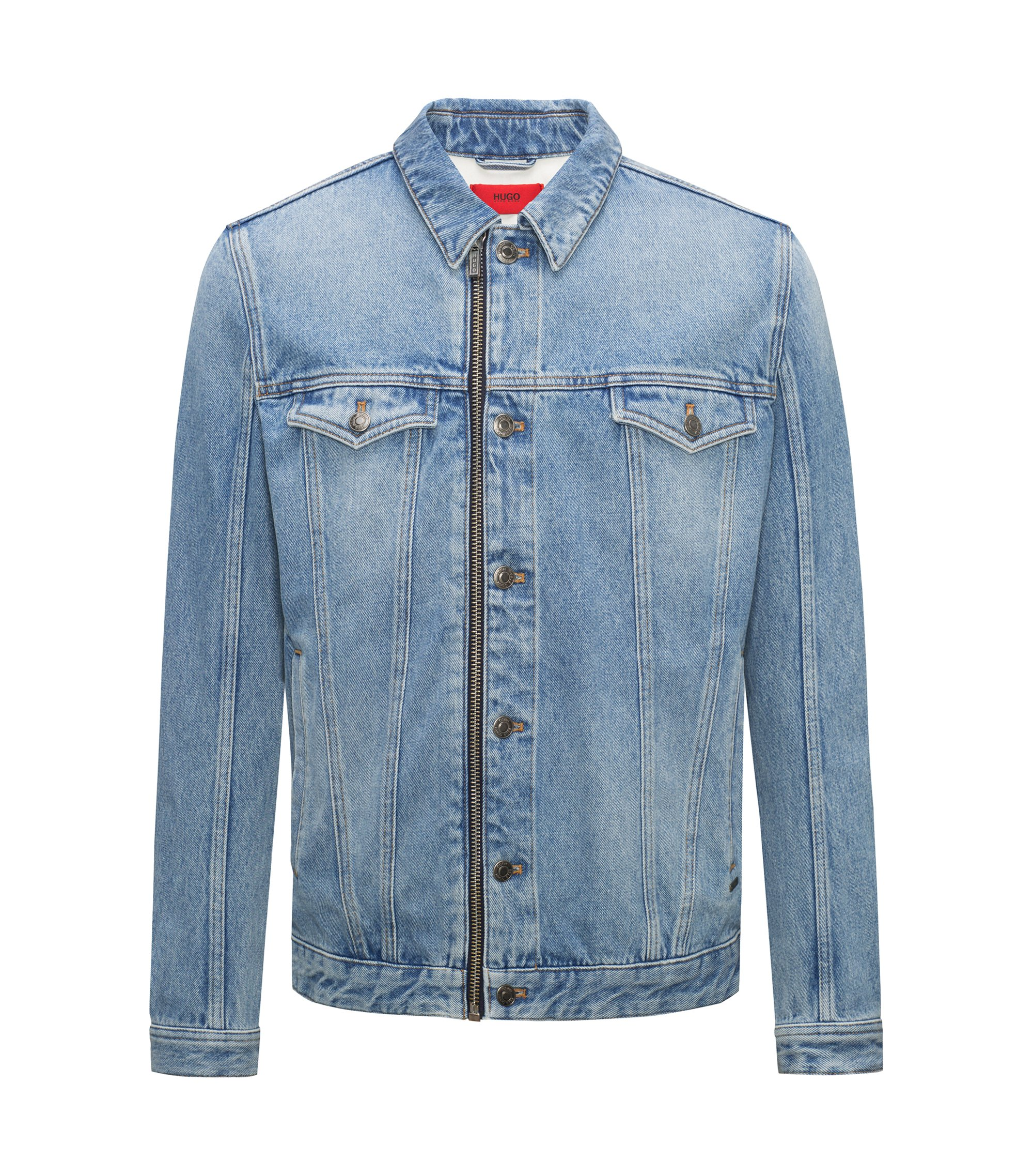 Light-wash denim jacket with zip front, Blue