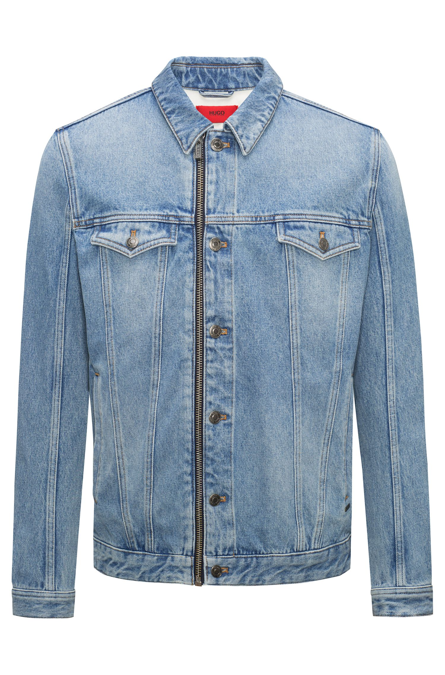 Light-wash denim jacket with zip front