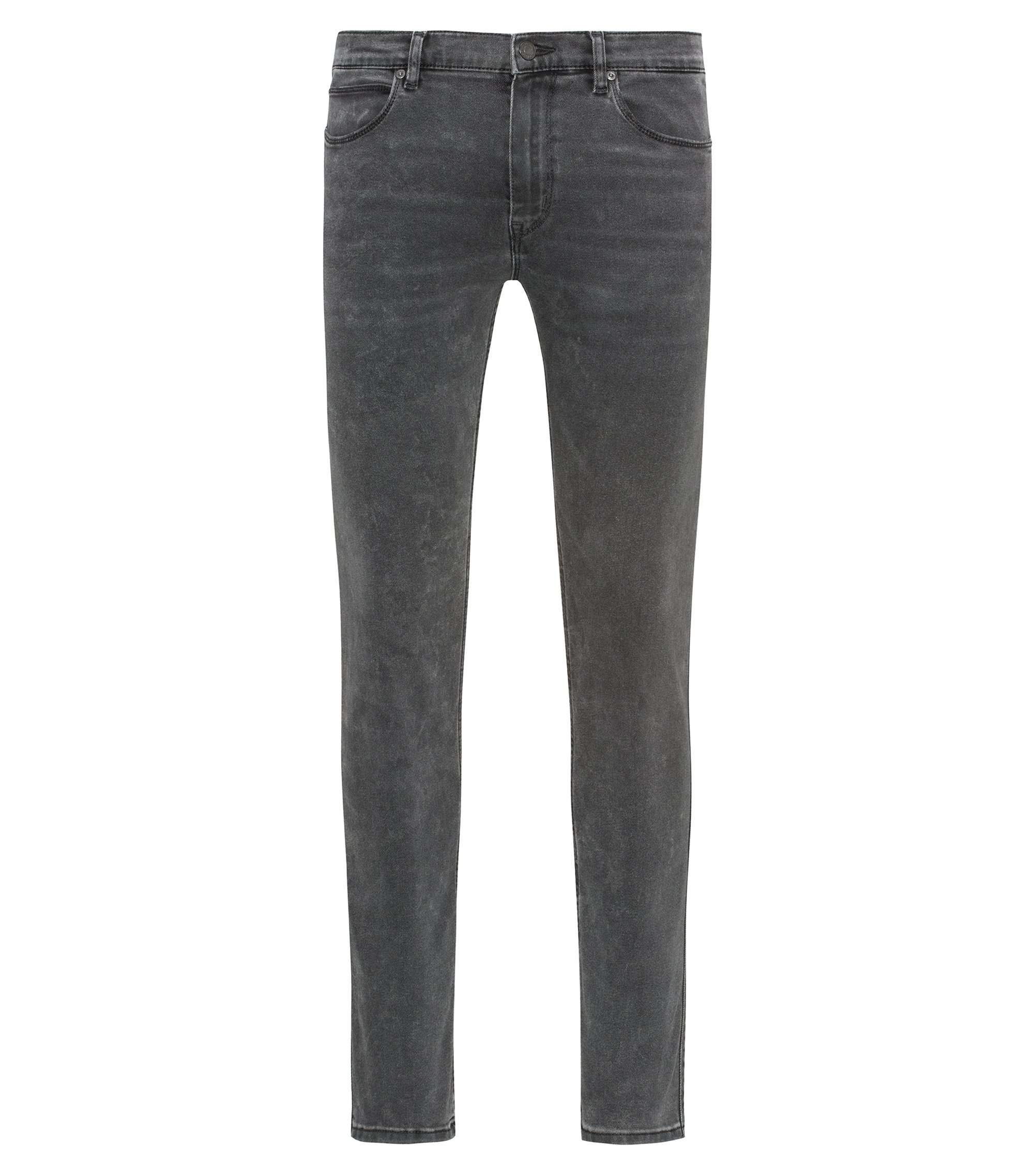 Mid-grey skinny-fit jeans in distressed stretch denim, Grey
