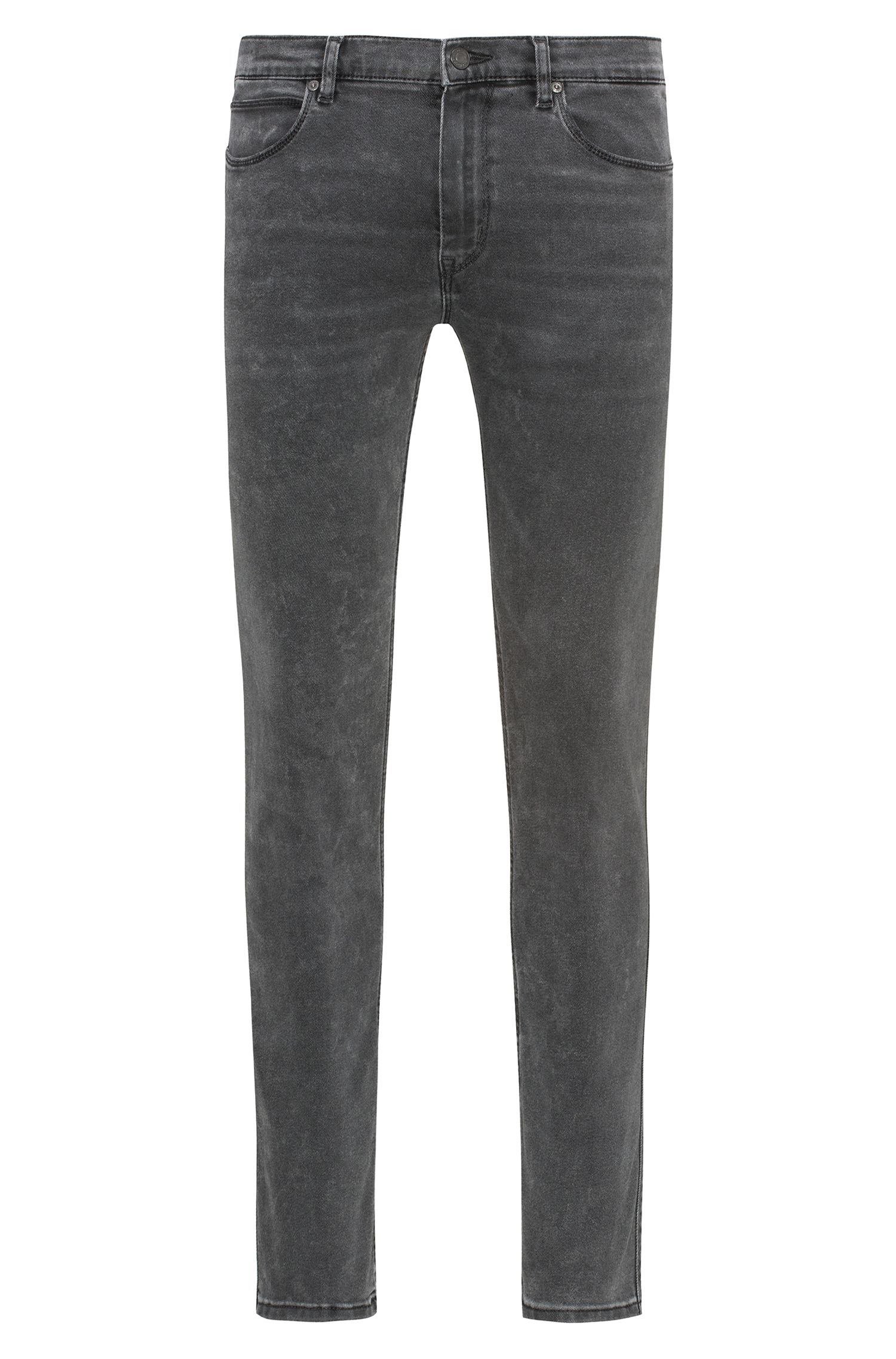 Mid-grey skinny-fit jeans in distressed stretch denim