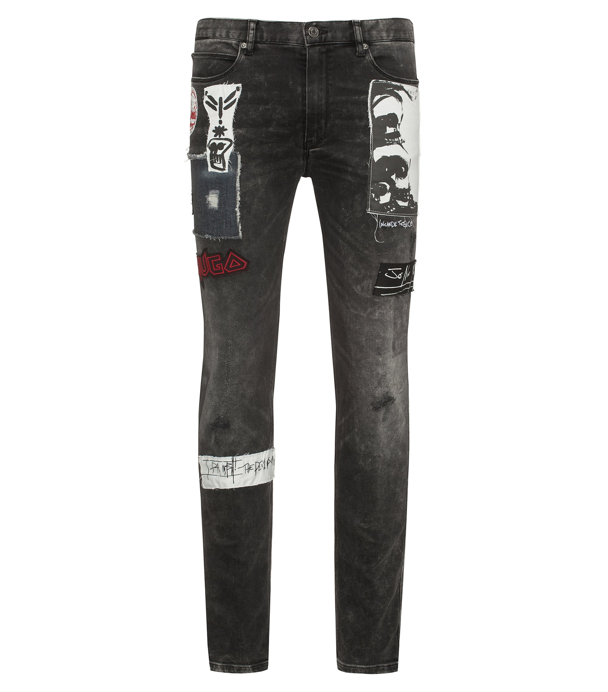 Skinny-fit jeans in stretch denim with appliqués, Anthracite