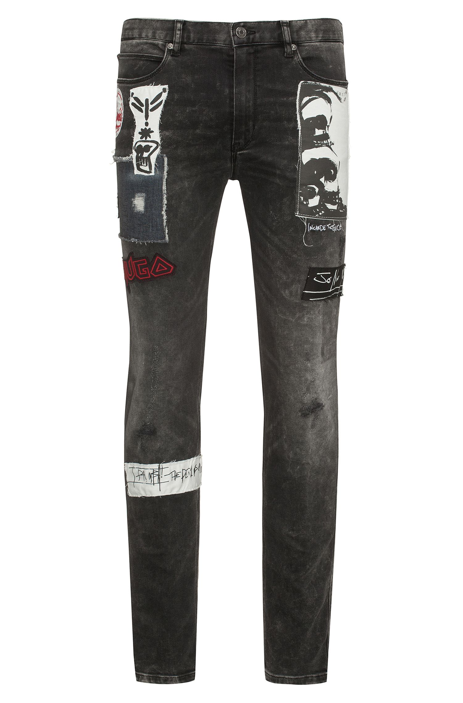 Jeans skinny fit in denim elasticizzato con applicazioni