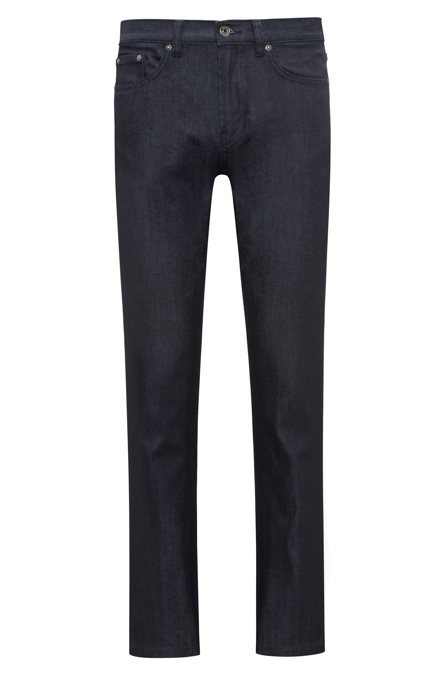 Regular-fit jeans van donkerblauw stretchdenim