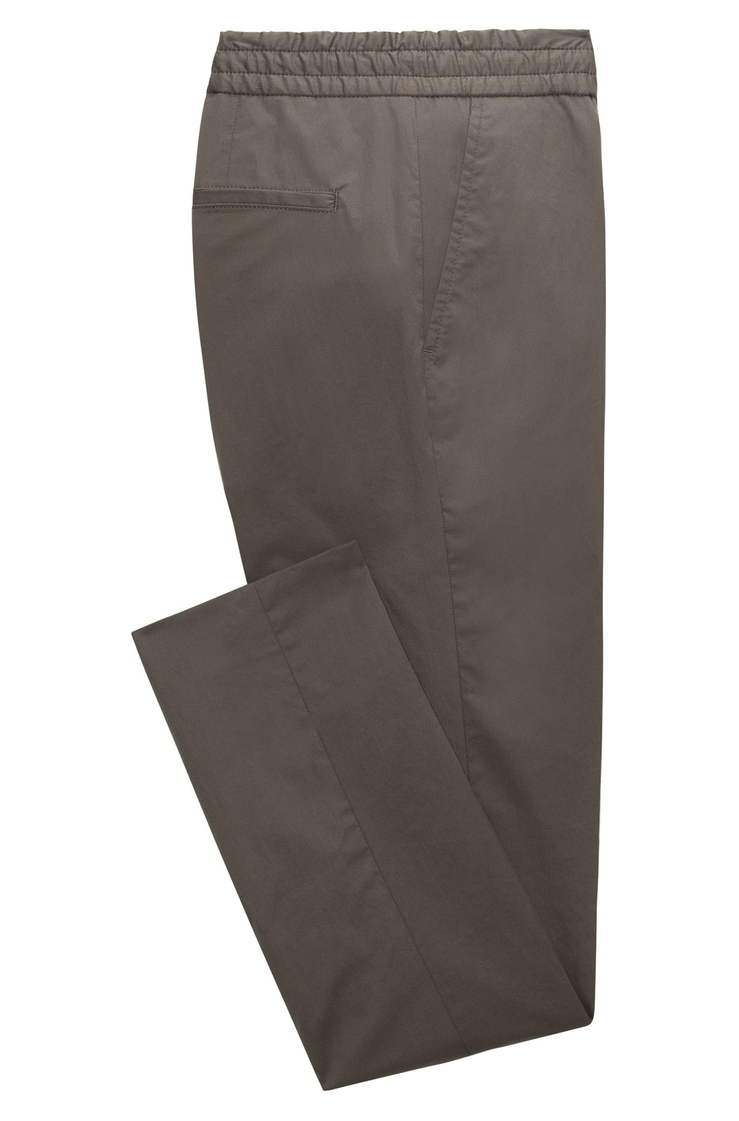 Tapered-fit trousers in paper-touch cotton