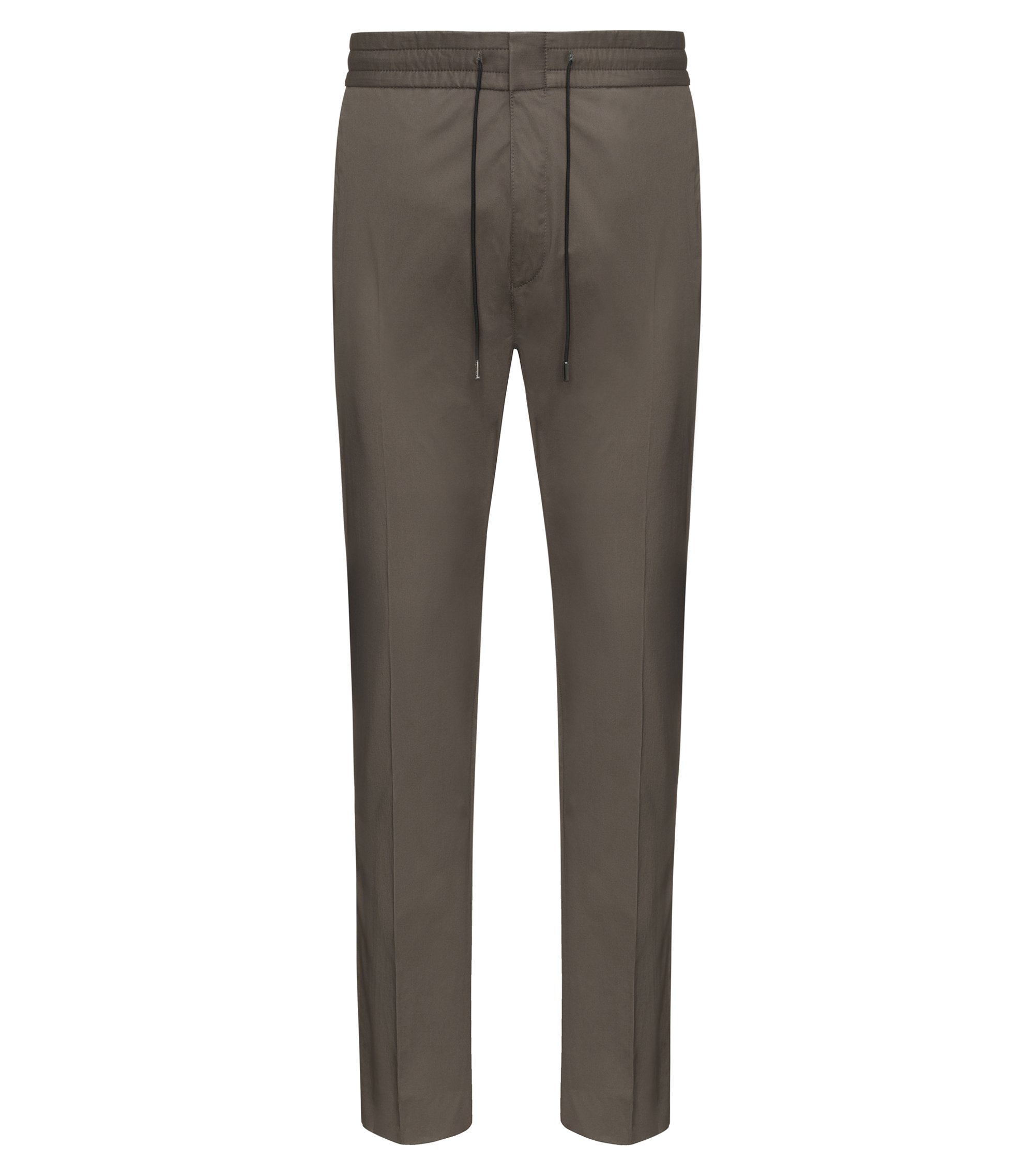 Tapered-fit trousers in paper-touch cotton, Brown