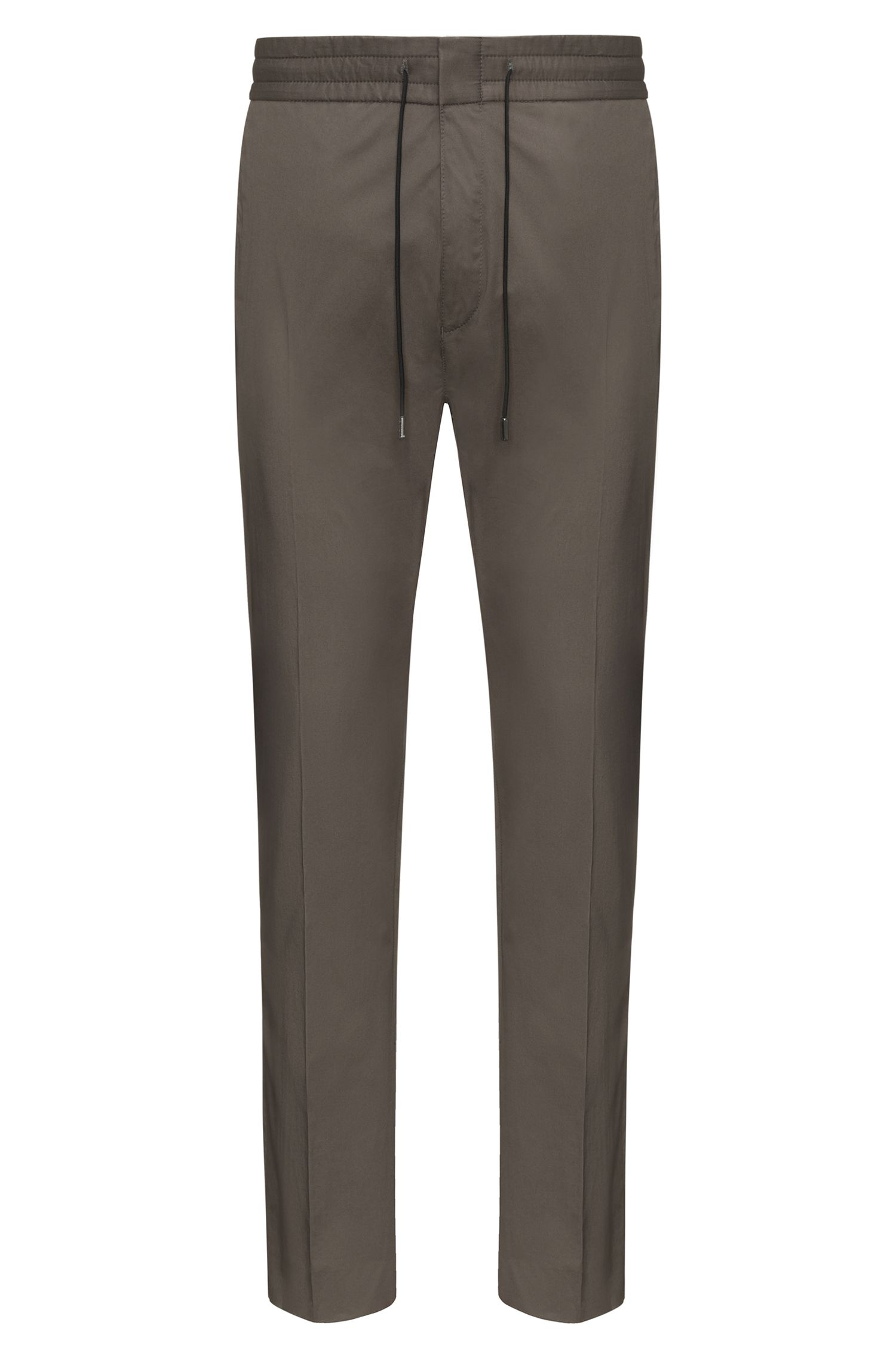Tapered-fit trousers in paper-touch cotton HUGO BOSS