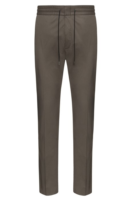 Tapered-fit trousers in paper-touch cotton HUGO BOSS 264a19dd