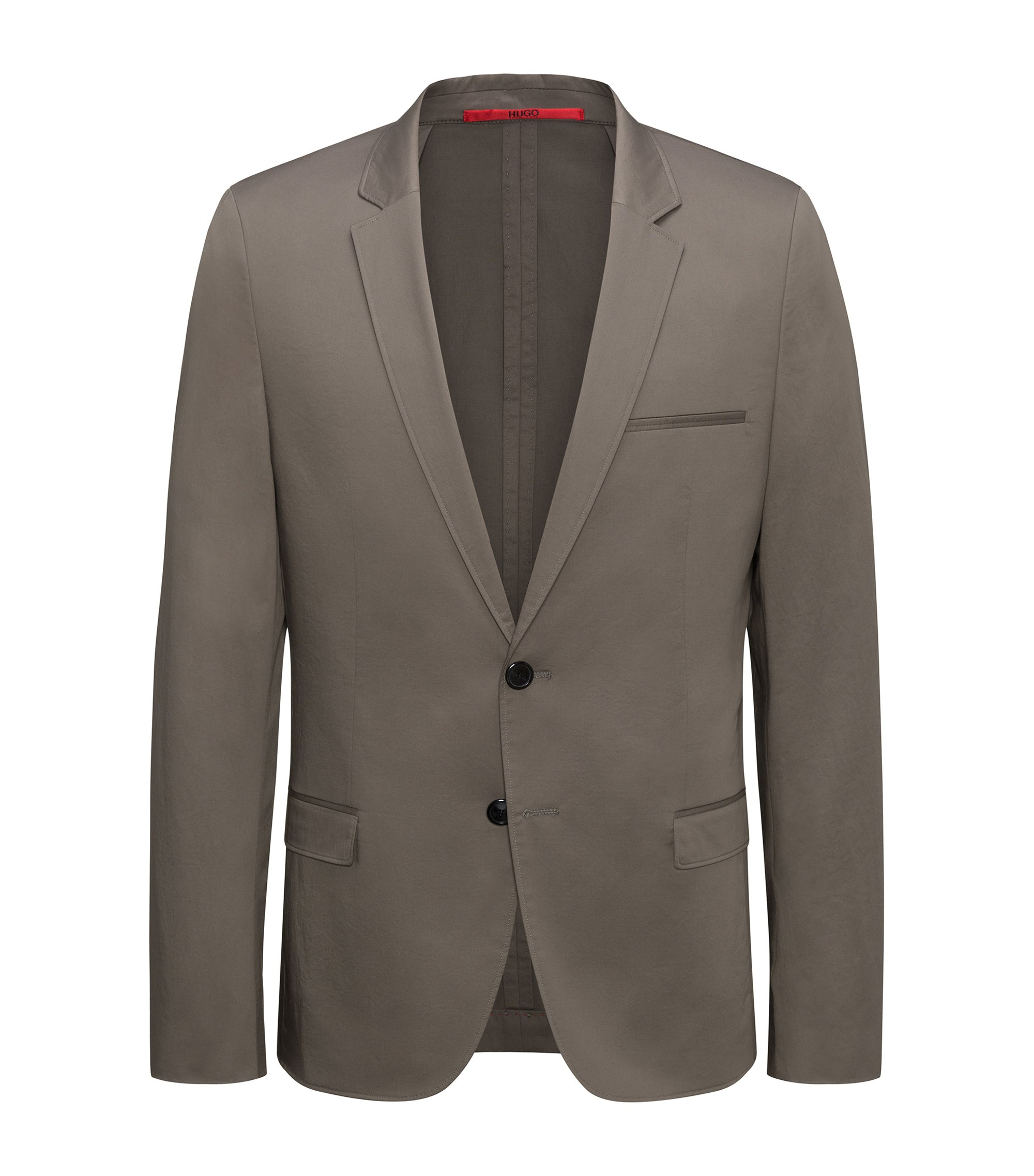 Veste Extra Slim Fit non doublée en coton stretch, Marron
