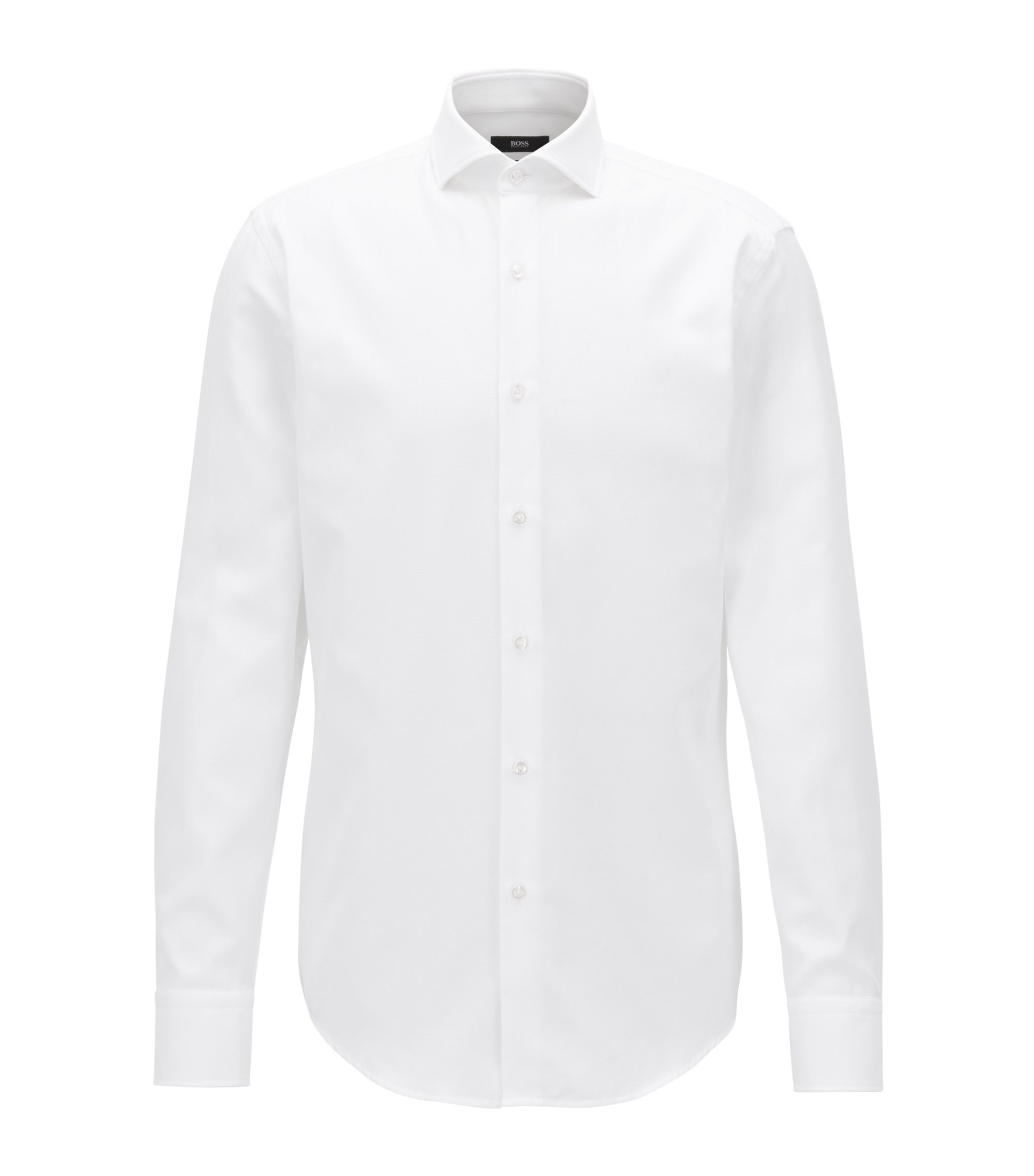 Slim-fit cotton shirt with micro structure, White