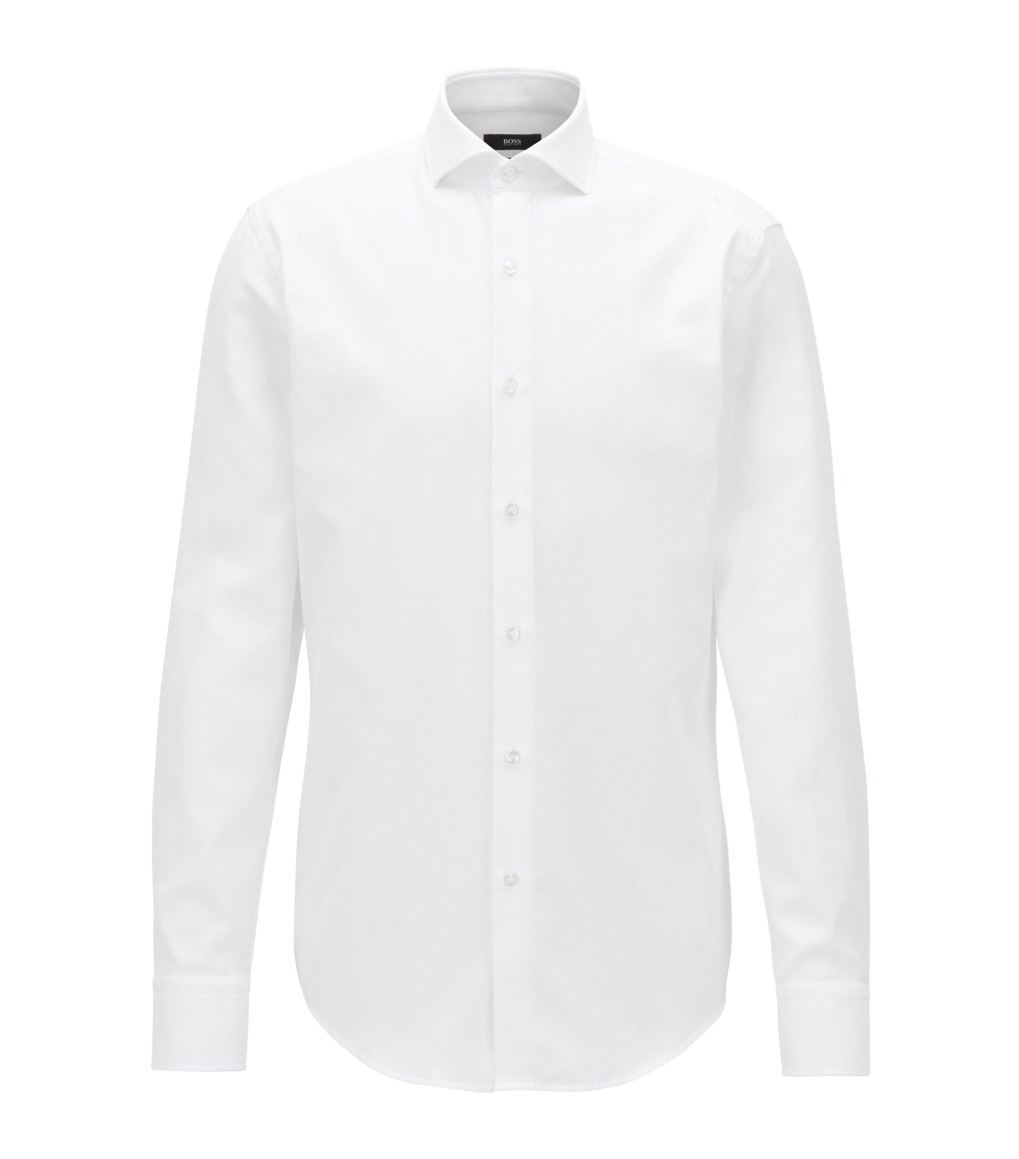 Camicia slim fit in cotone con microstruttura, Bianco
