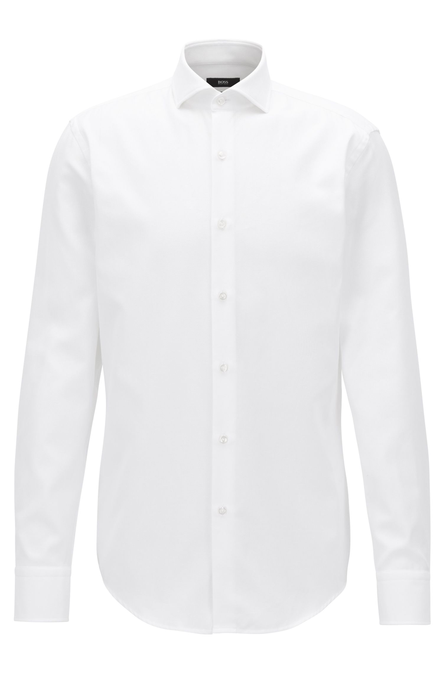 Slim-fit cotton shirt with micro structure