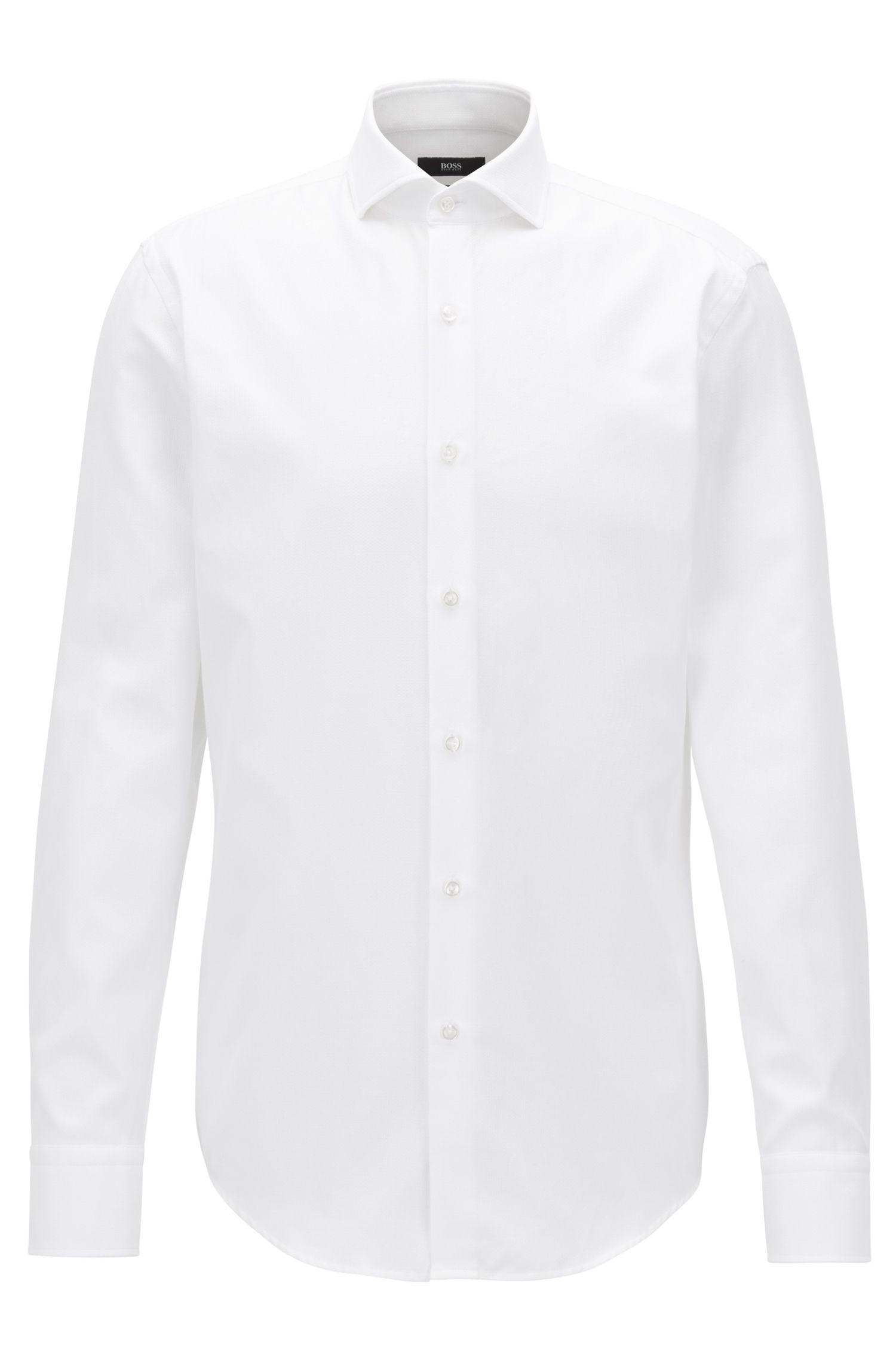 Camicia slim fit in cotone con microstruttura