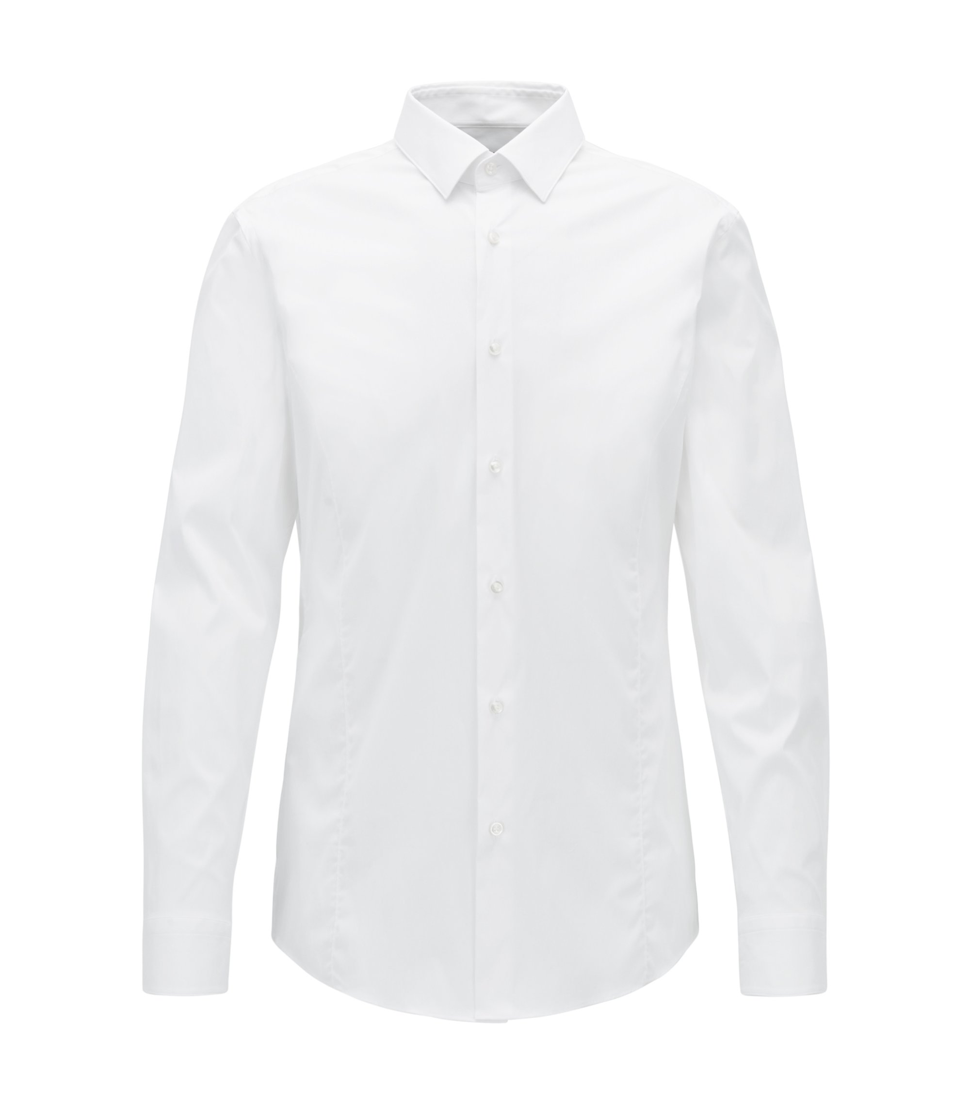 Slim-fit shirt in stretch poplin, White
