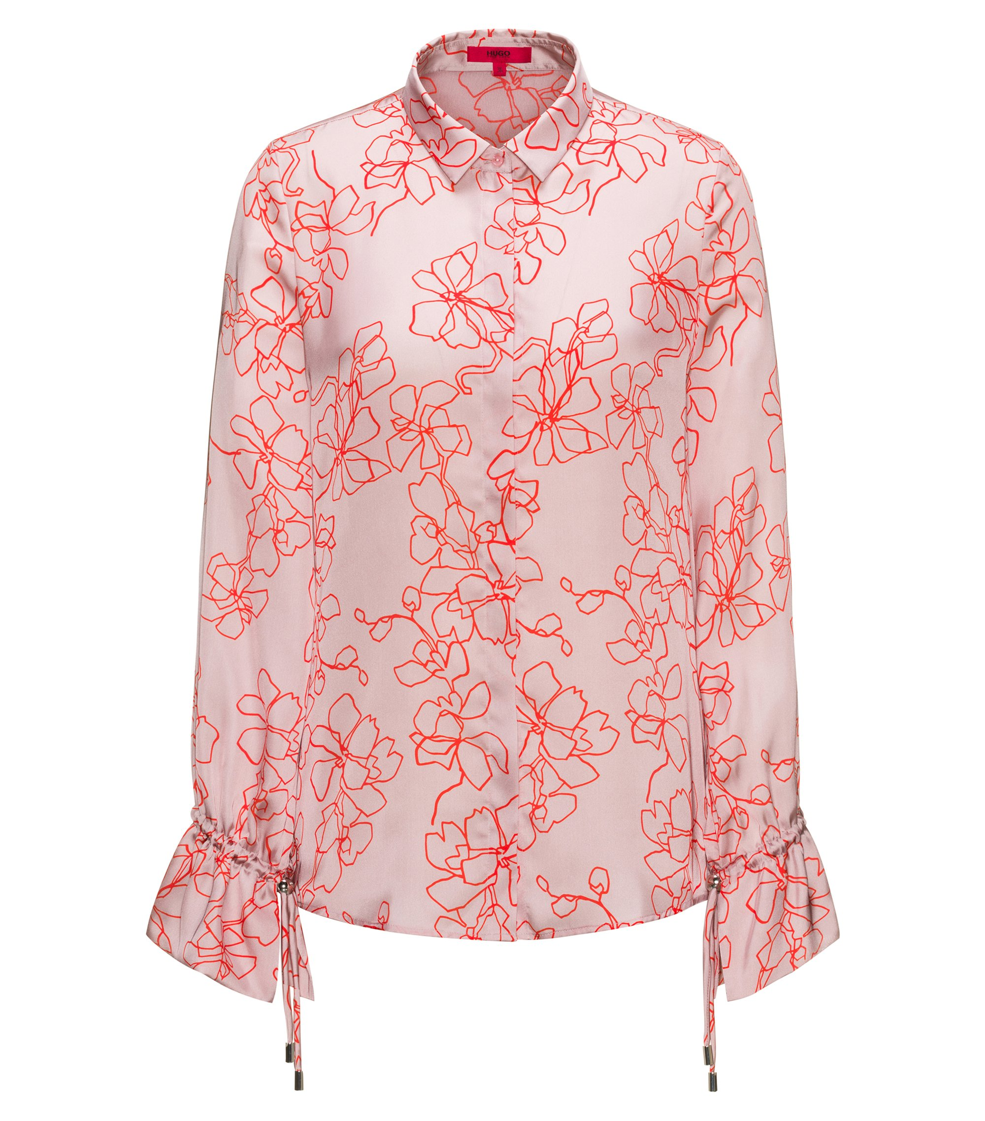 Relaxed-fit floral-print blouse with cuff detail, Patterned