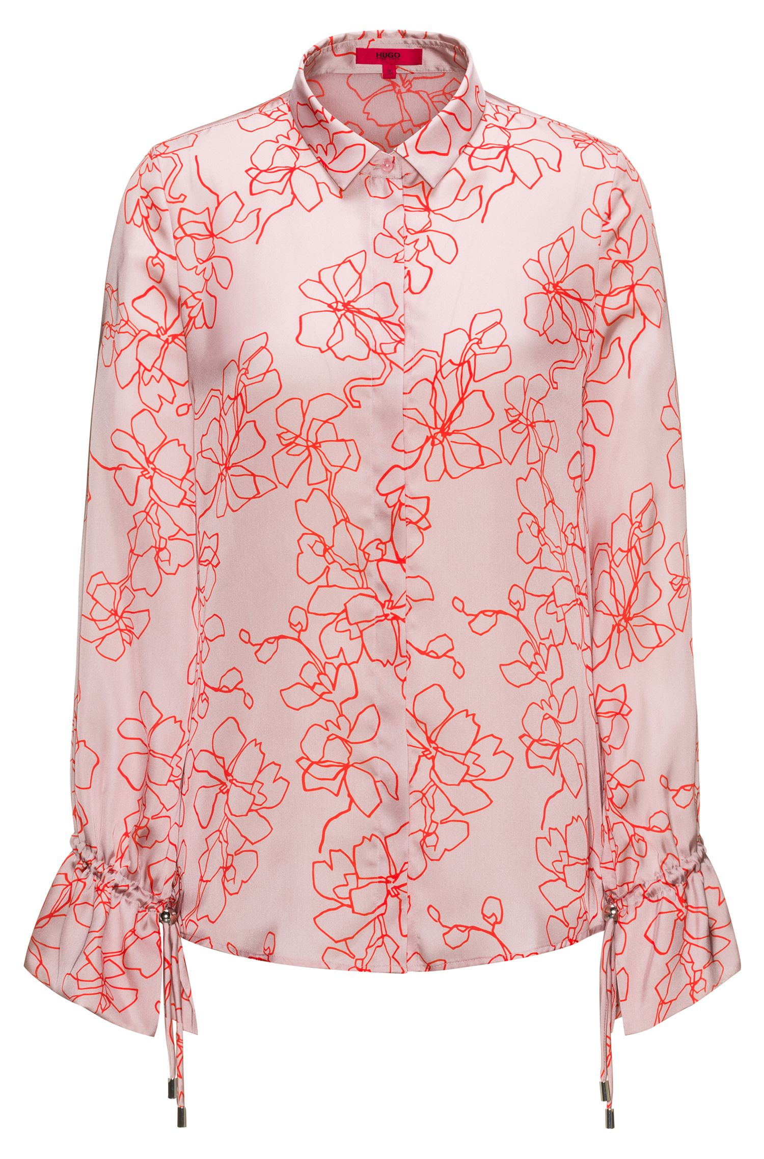 Relaxed-fit floral-print blouse with cuff detail