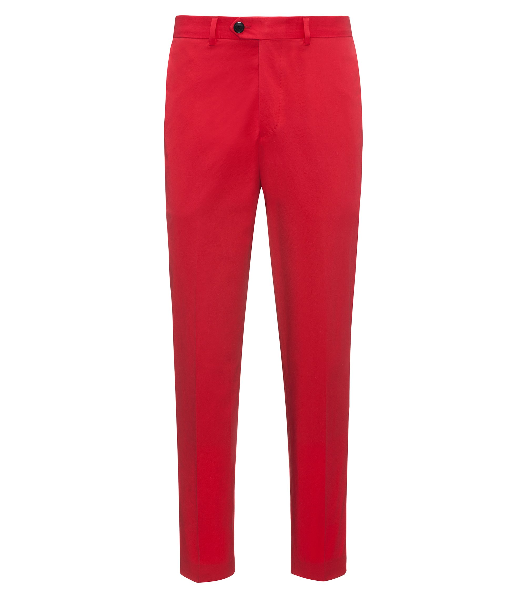 Tapered-fit trousers in stretch cotton, Red