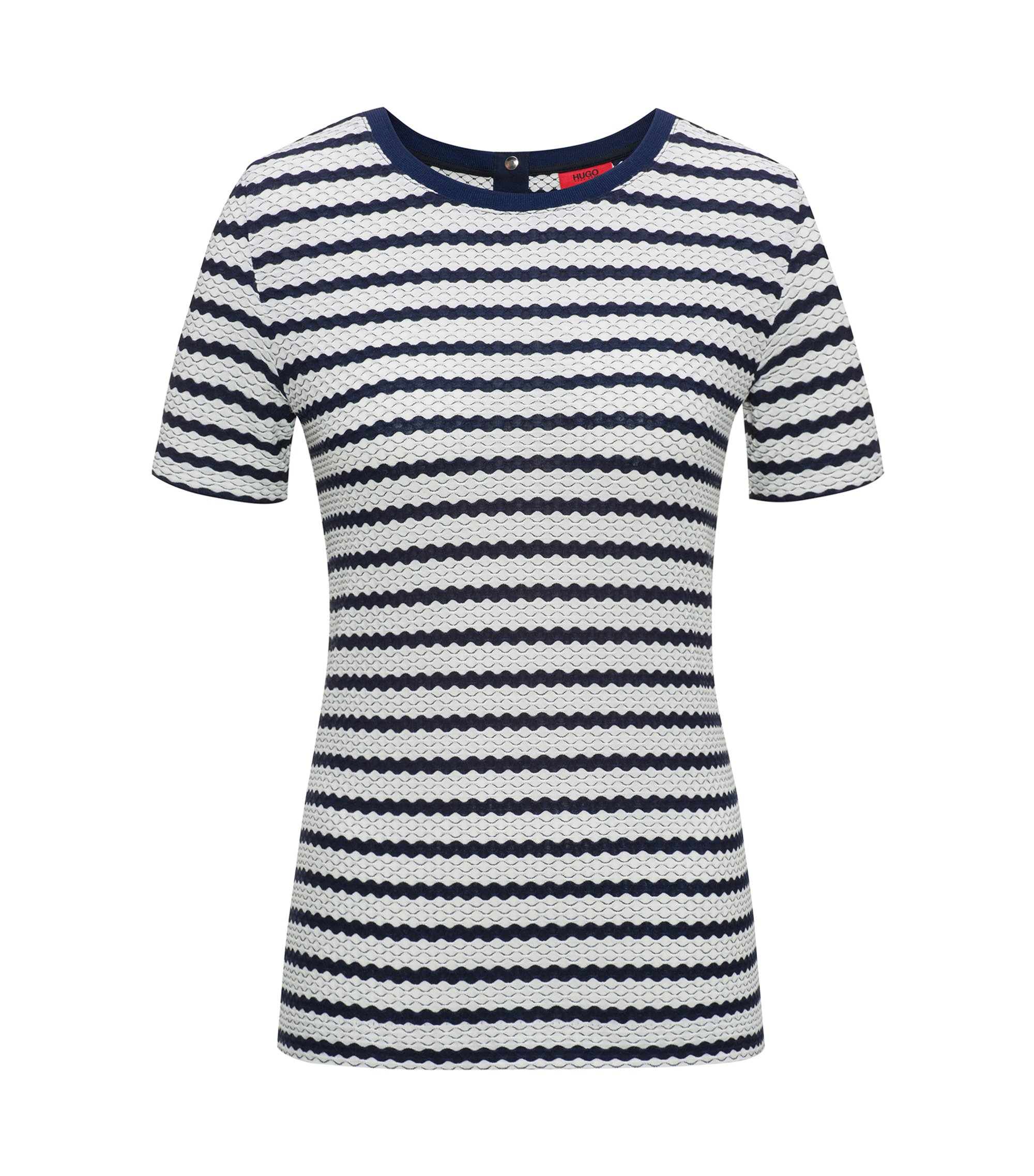 Stretch-jersey top with three-dimensional stripe, Patterned