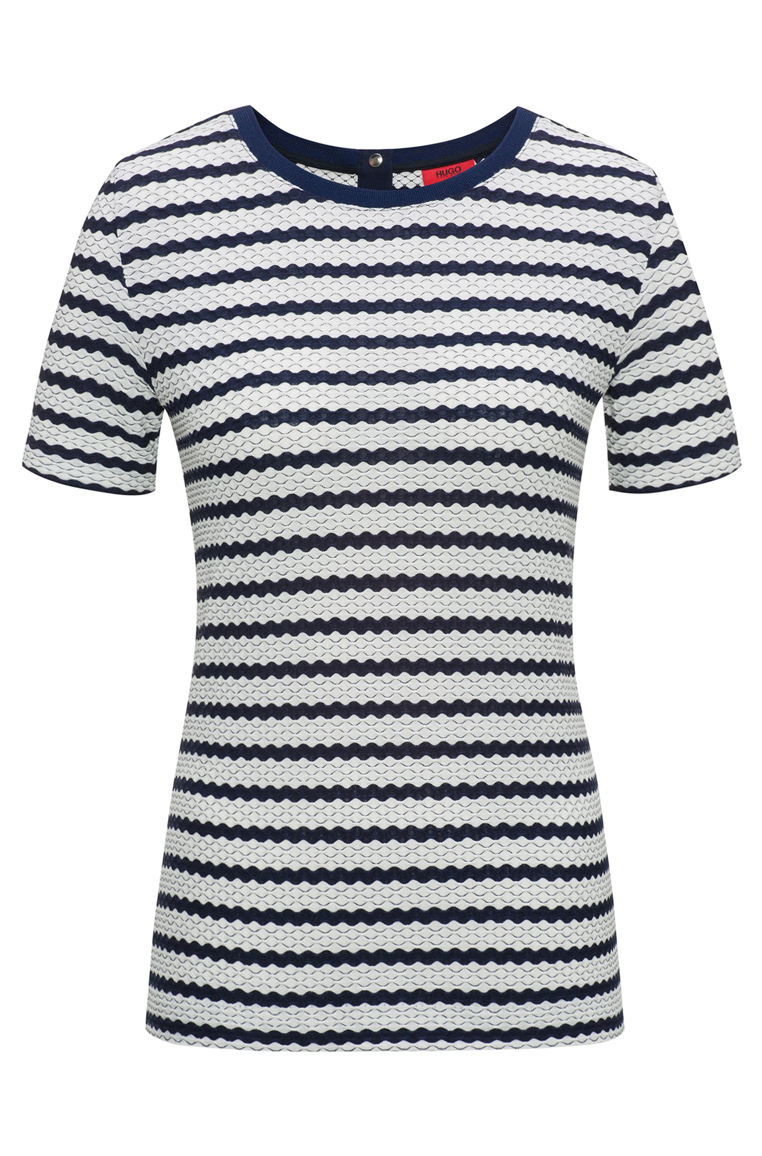 Stretch-jersey top with three-dimensional stripe