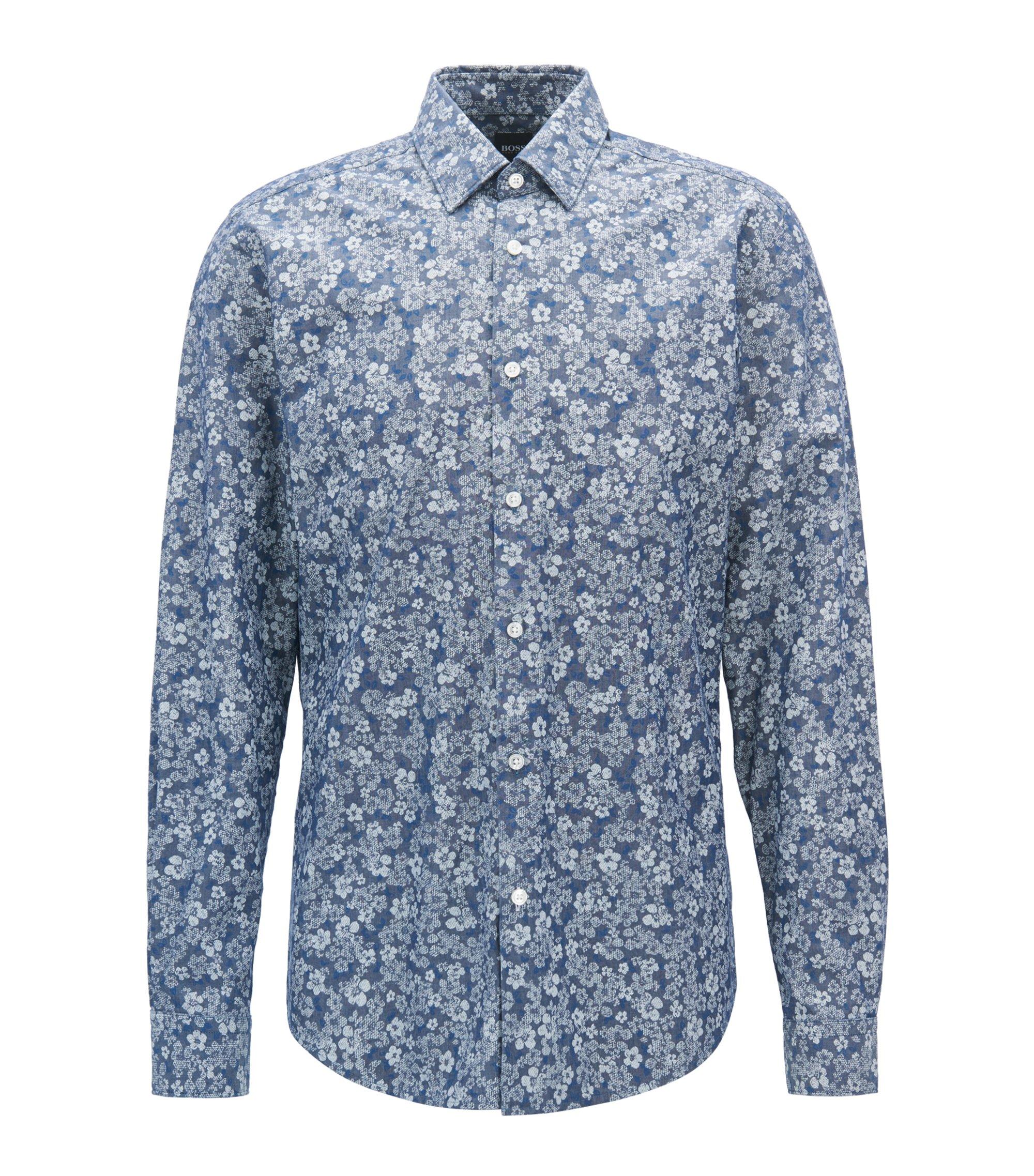 Regular-fit cotton shirt with floral print, Dark Blue