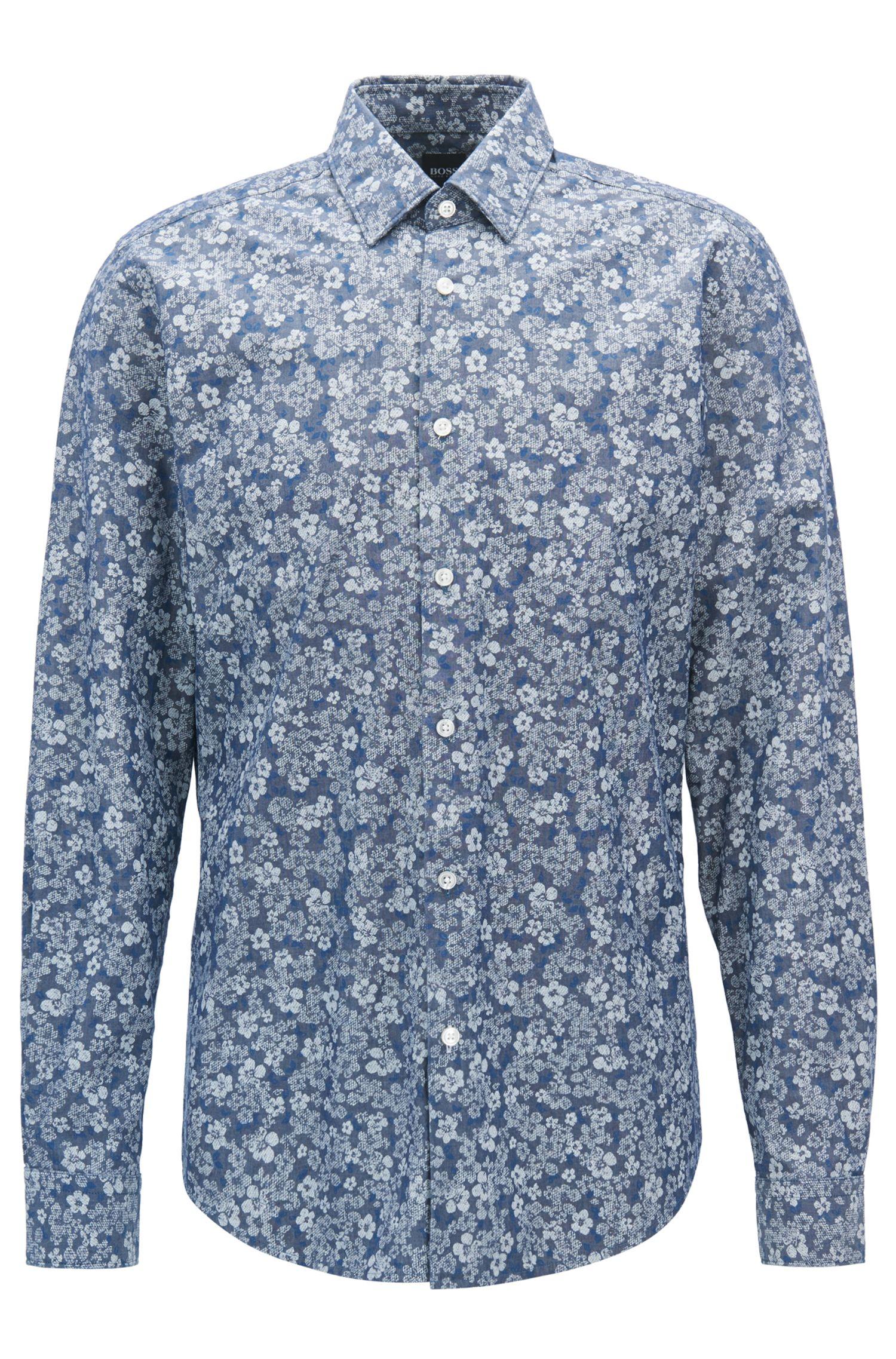 Camisa regular fit en algodón con estampado de flores
