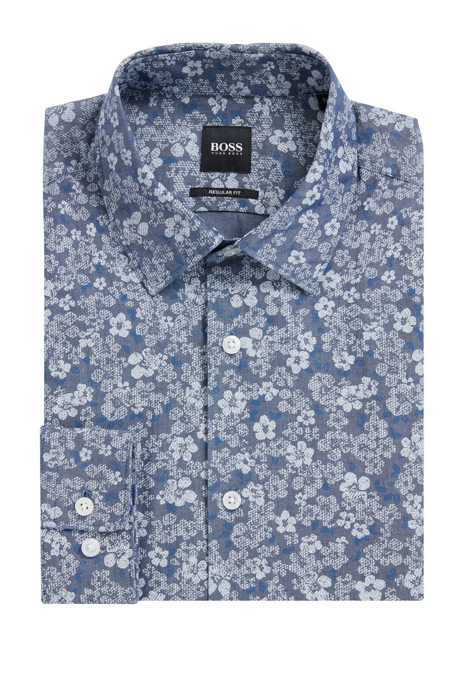 Regular-fit overhemd van katoen met bloemenprint