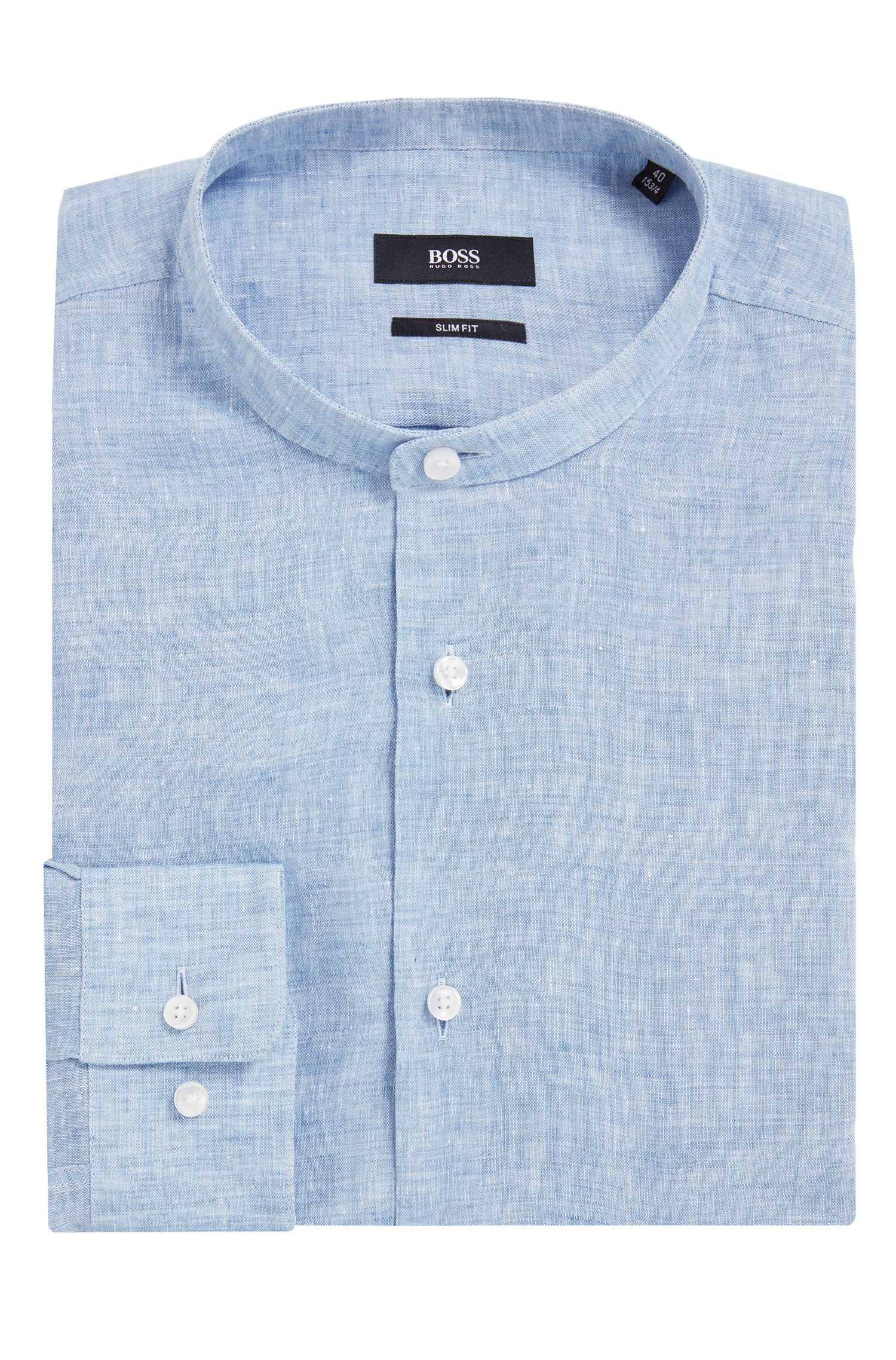 Slim-Fit Hemd aus italienischem Leinen mit Stehkragen