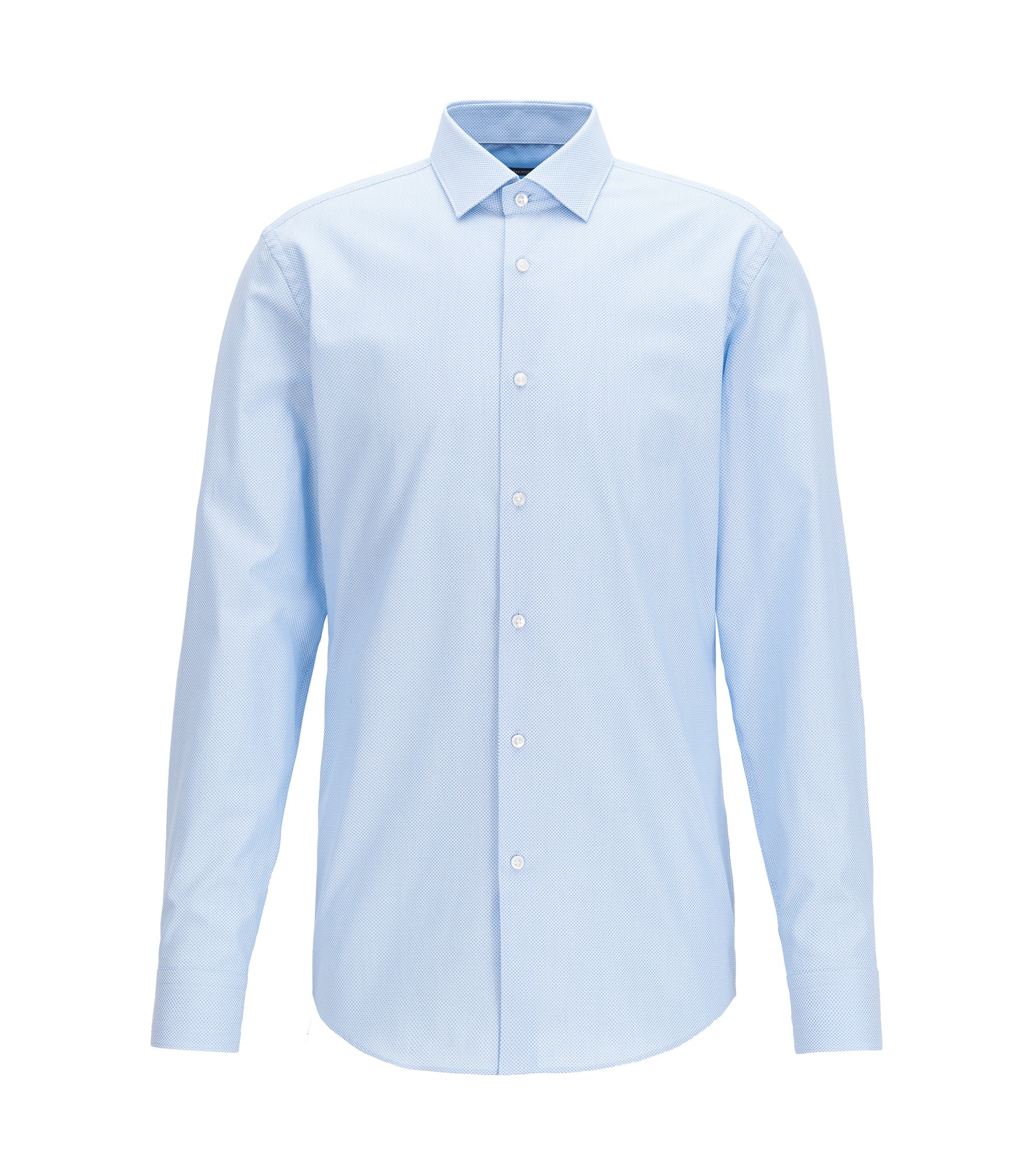 Slim-fit micro-dot shirt in cotton poplin, Light Blue