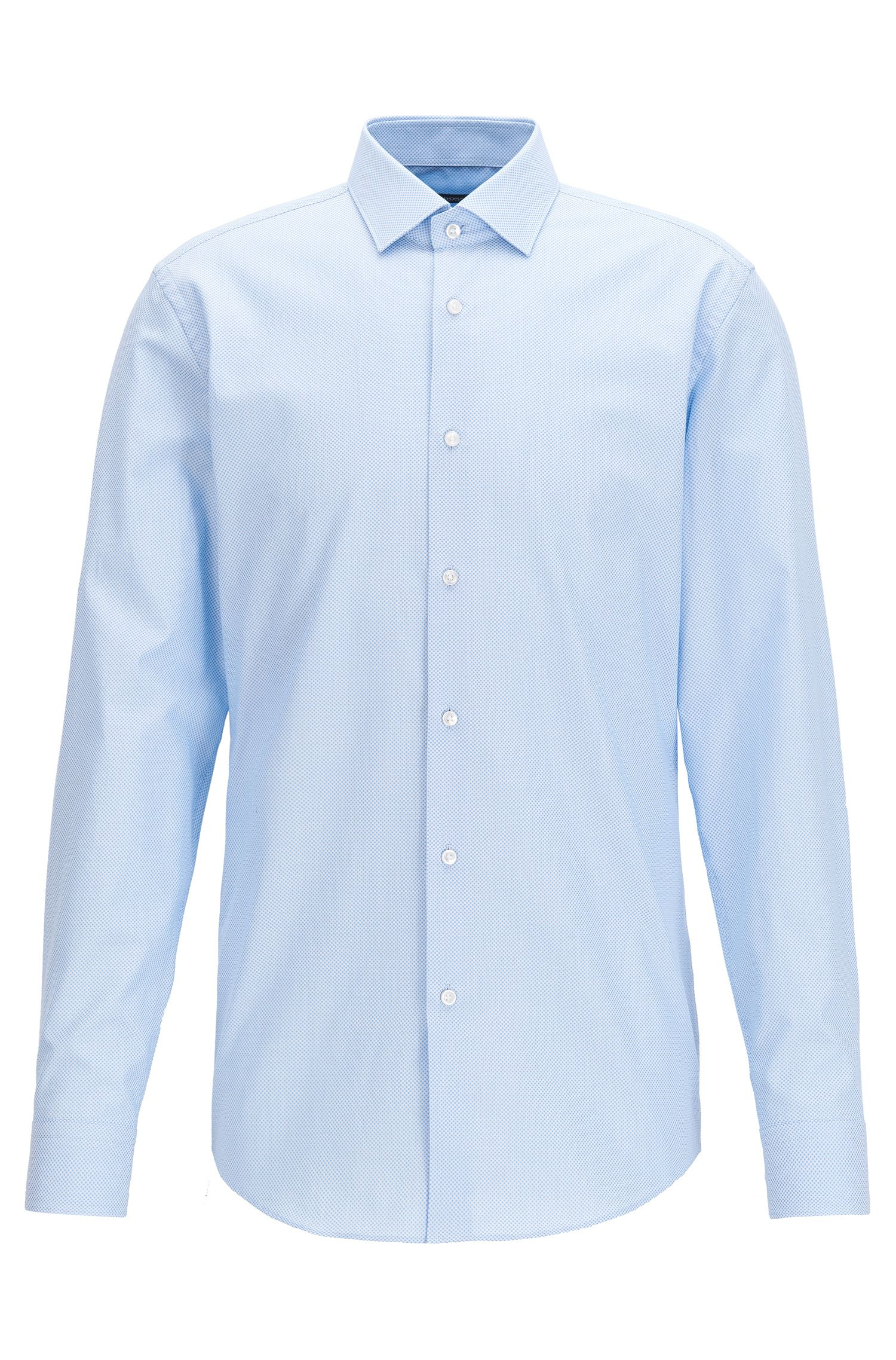 Slim-fit micro-dot shirt in cotton poplin