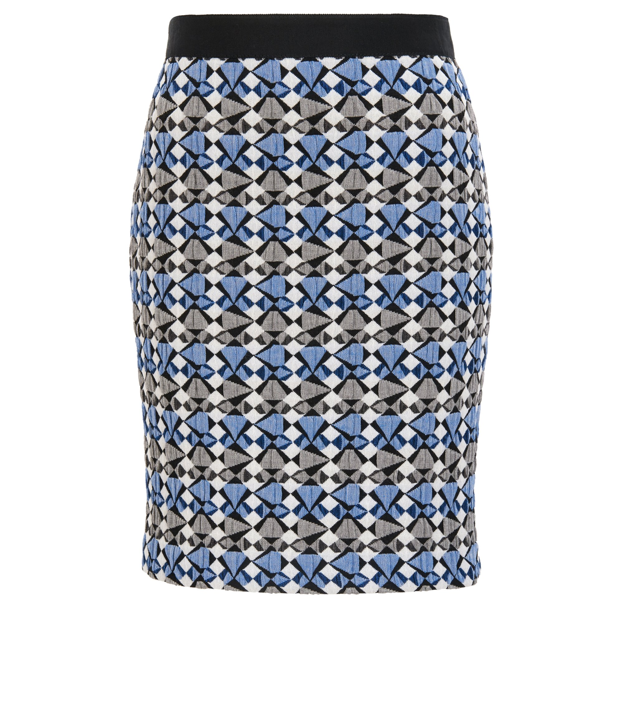Pencil skirt in multicoloured stretch jacquard, Patterned