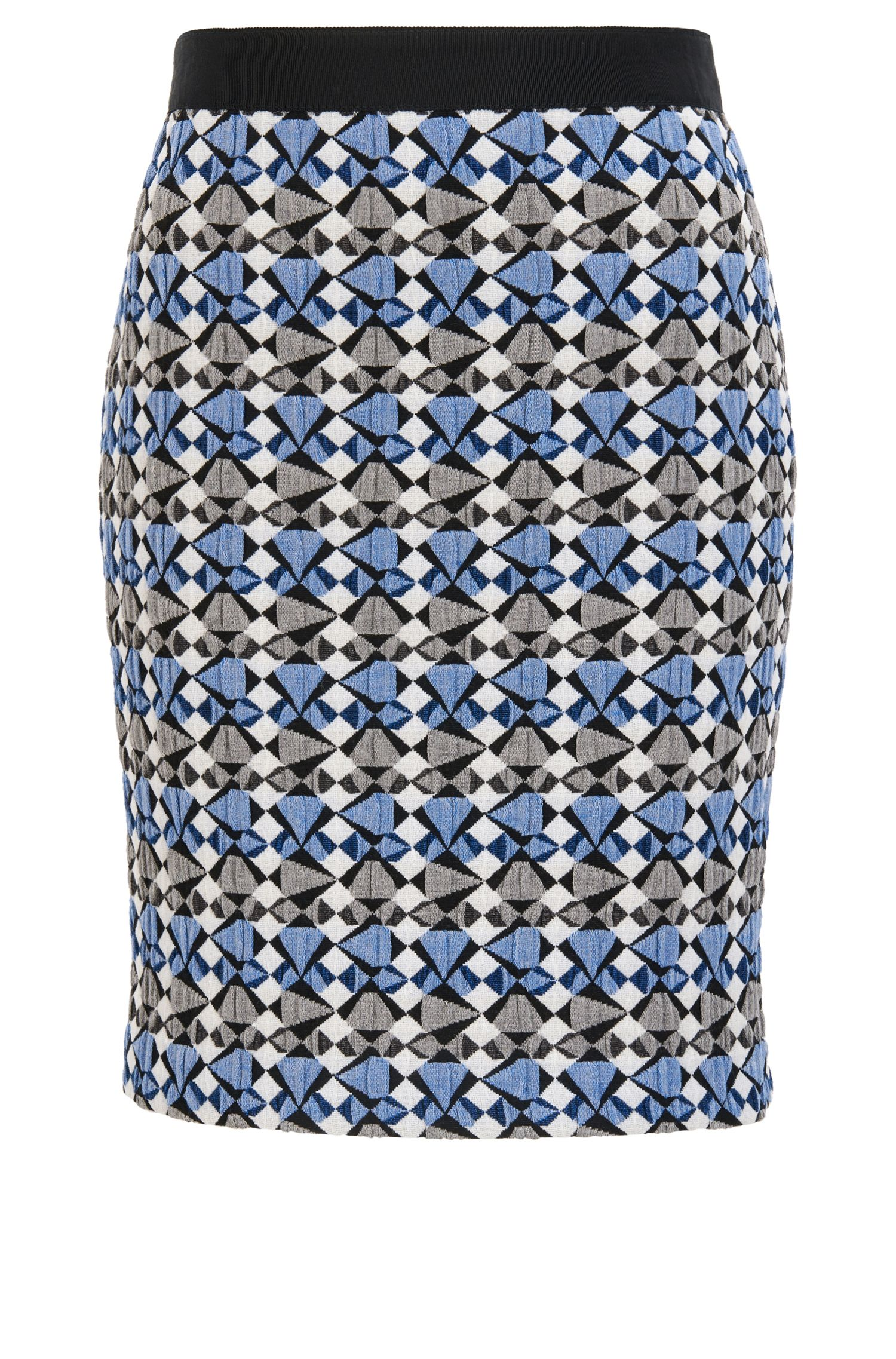 Pencil skirt in multicoloured stretch jacquard