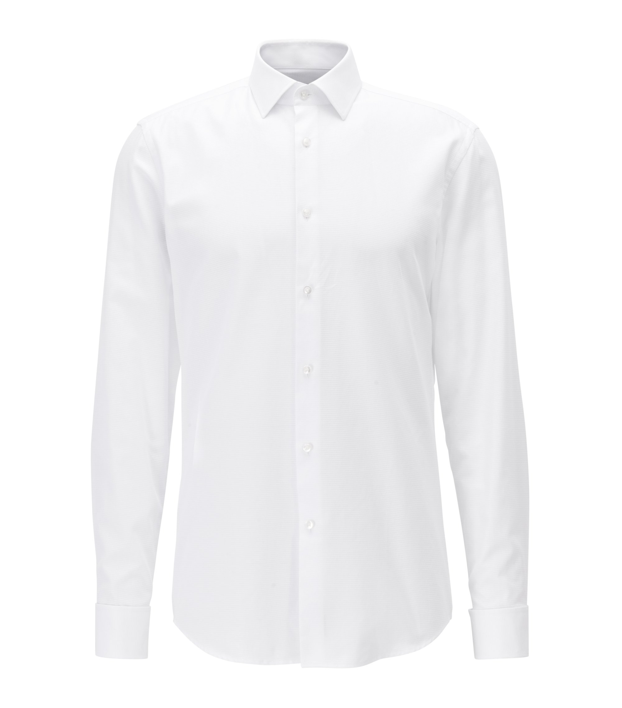 Slim-fit shirt in cotton with double cuffs, White