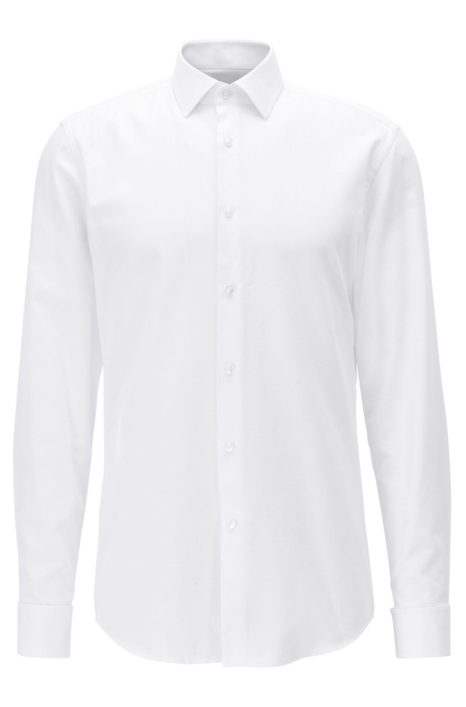 Strukturiertes Slim-Fit Hemd aus Baumwolle mit Umschlagmanschetten