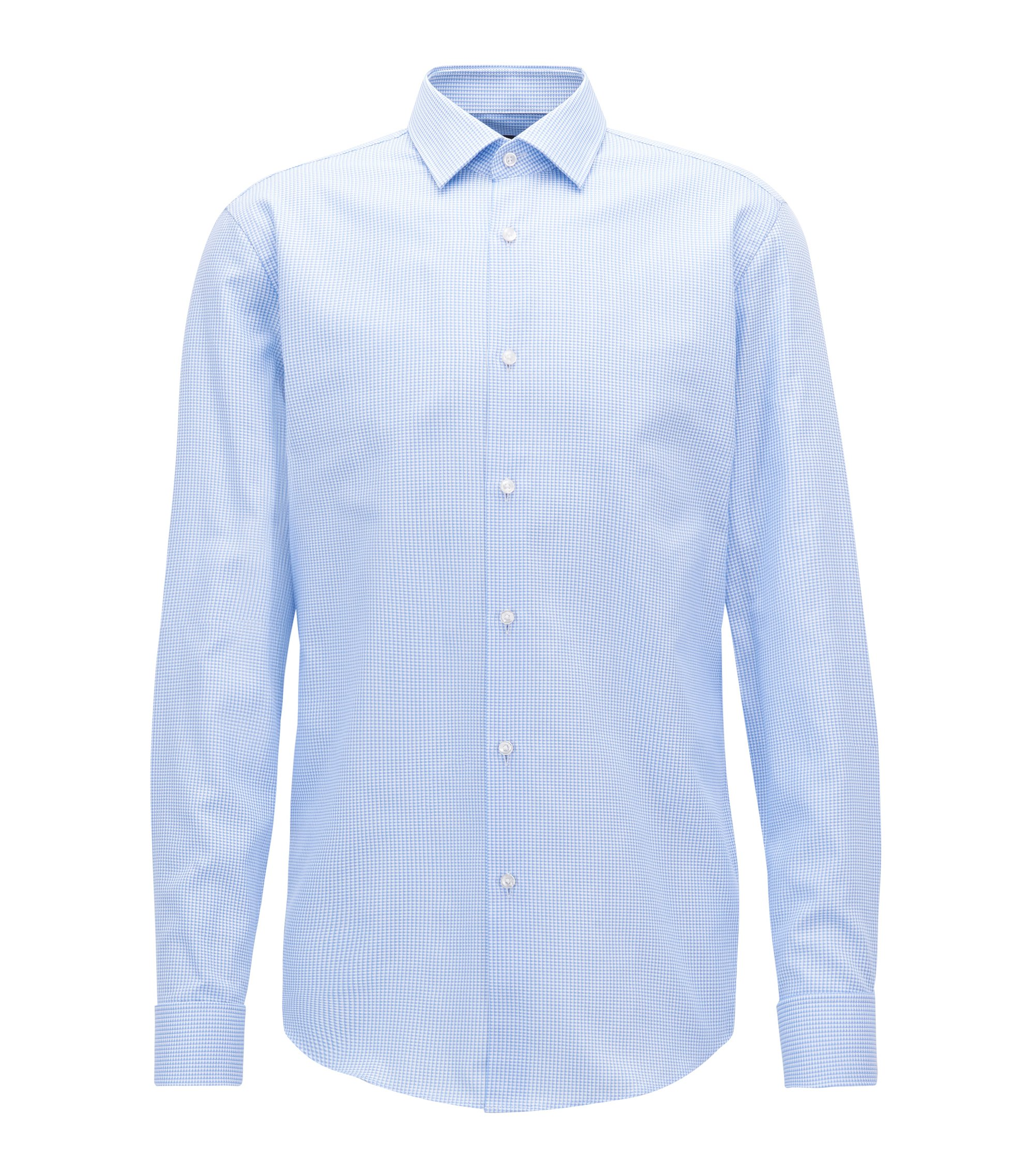 Slim-fit shirt in cotton with double cuffs, Light Blue