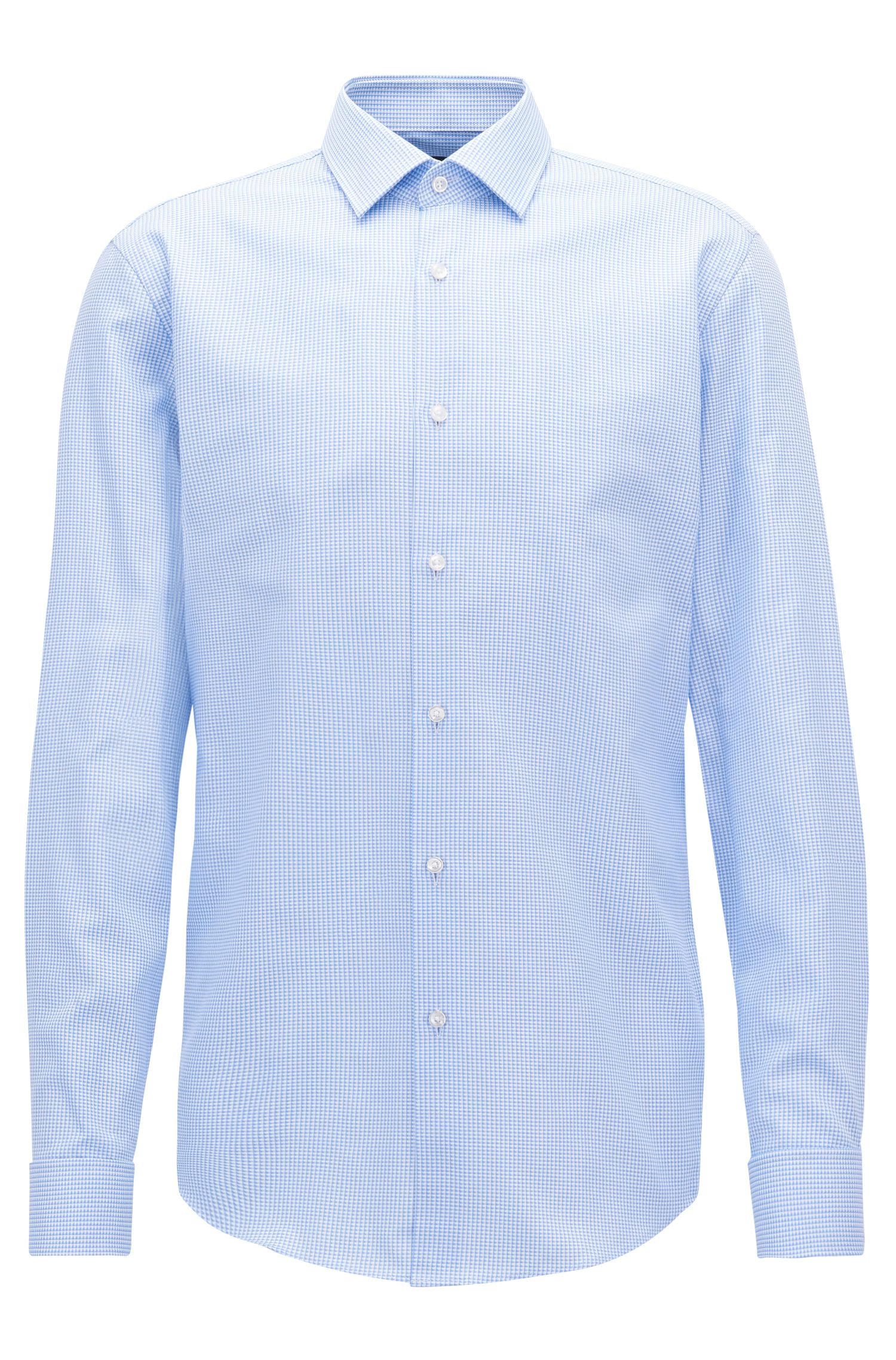 Slim-fit shirt in cotton with double cuffs