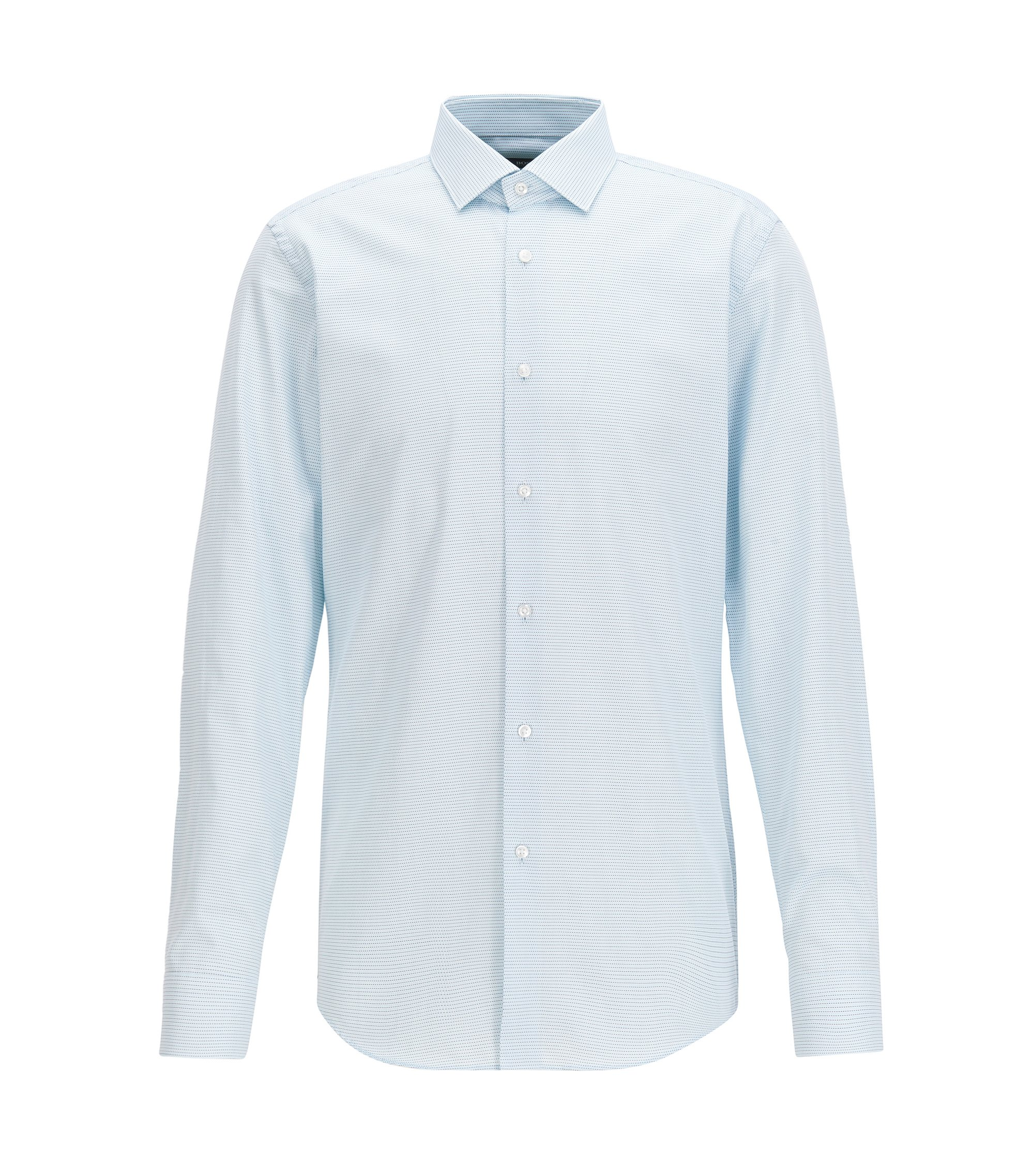 Slim-fit shirt in two-tone structured cotton, Turquoise
